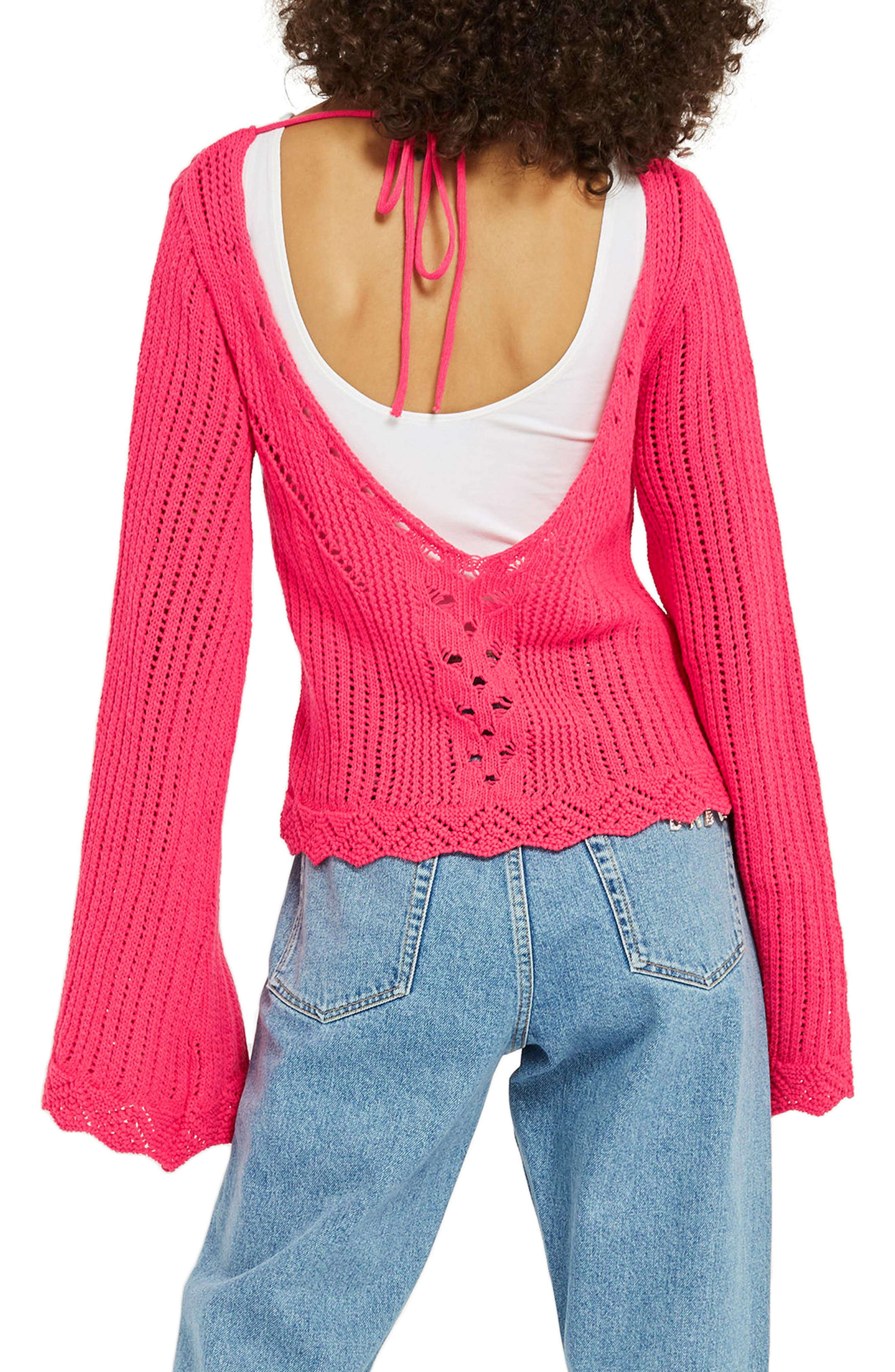 Tie Back Bell Sleeve Sweater,                             Alternate thumbnail 2, color,                             Bright Pink