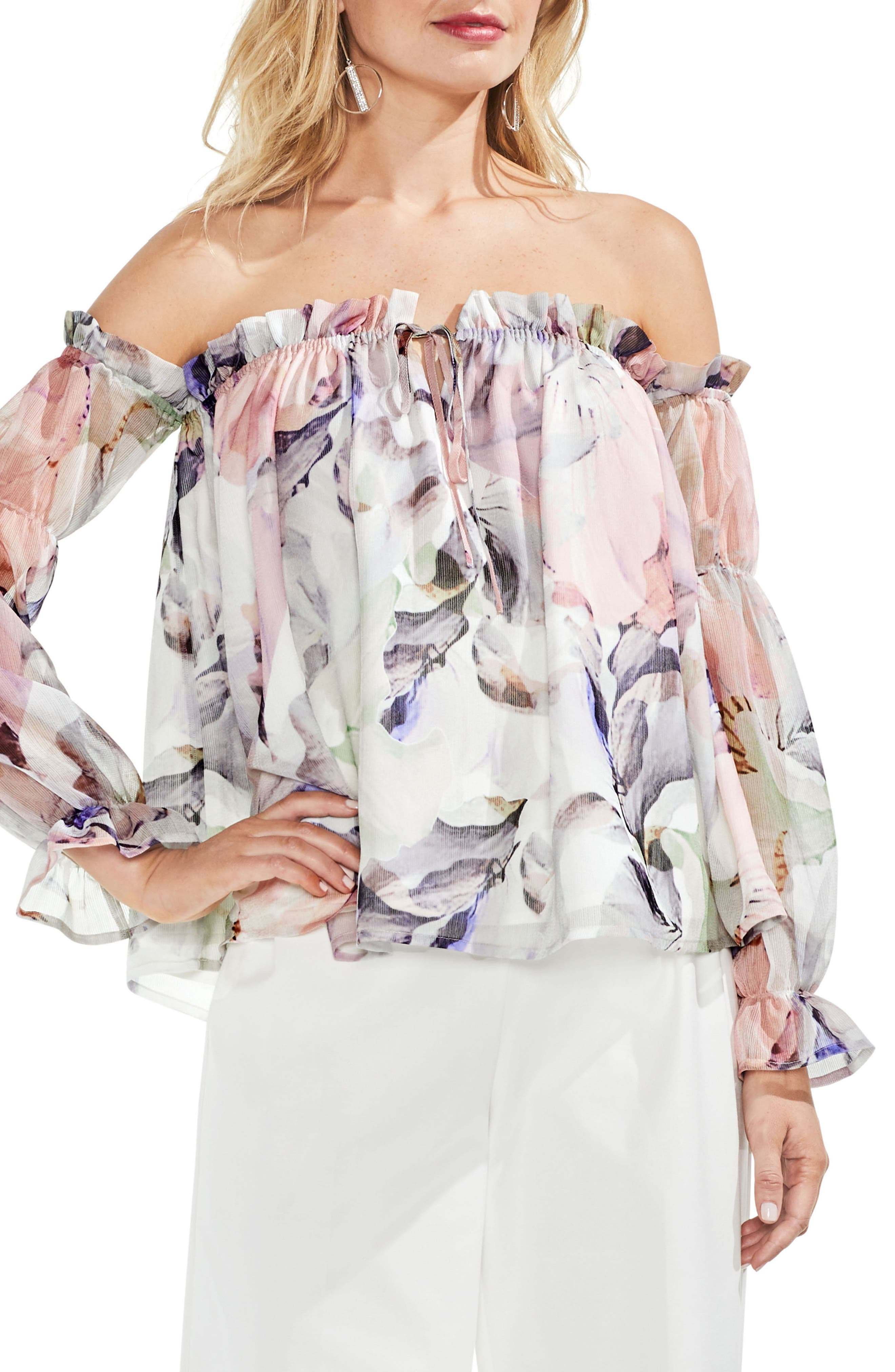 Off the Shoulder Diffused Floral Peasant Blouse,                             Main thumbnail 1, color,                             New Ivory