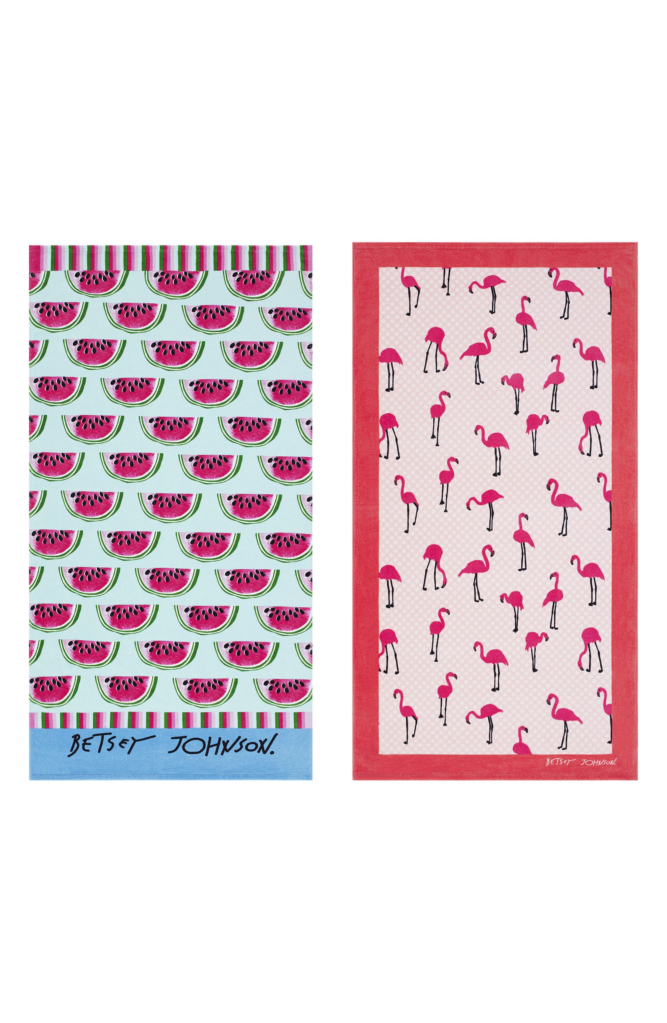 Watermelon Picnic/Flamingo Strut Set of 2 Beach Towels,                         Main,                         color, Pink Multi