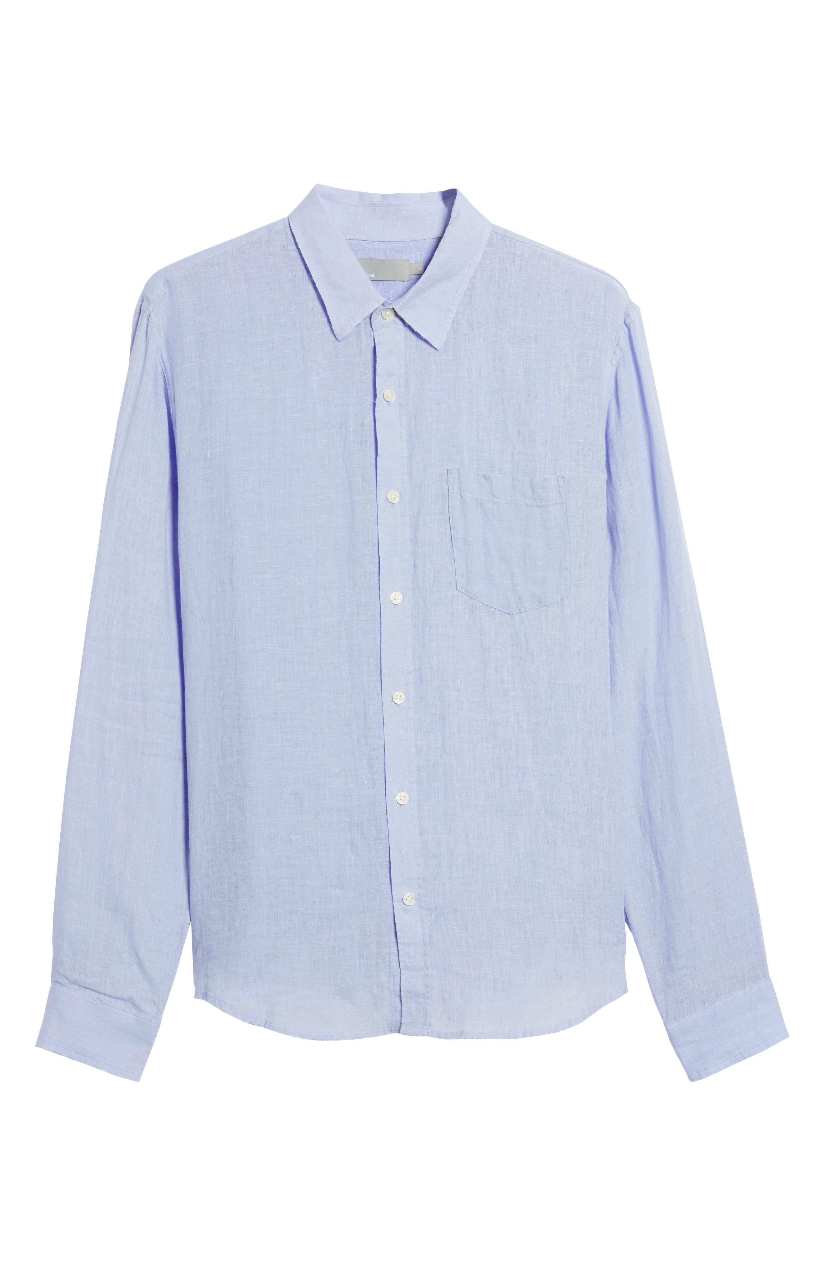 Washed Slim Fit Linen Sport Shirt,                             Alternate thumbnail 6, color,                             Feather