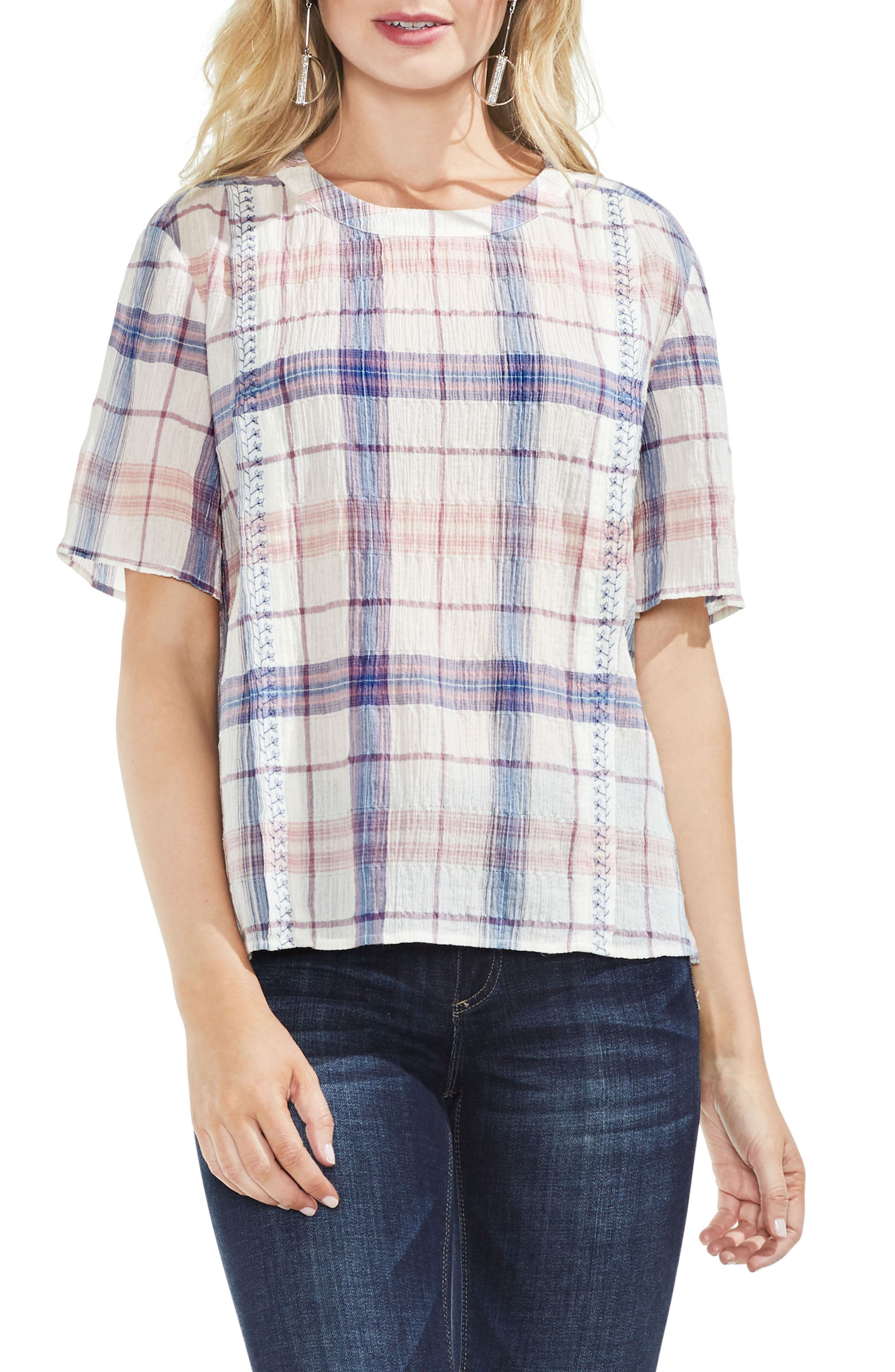 Vince Camuto Pavillion Plaid Embroidered Top