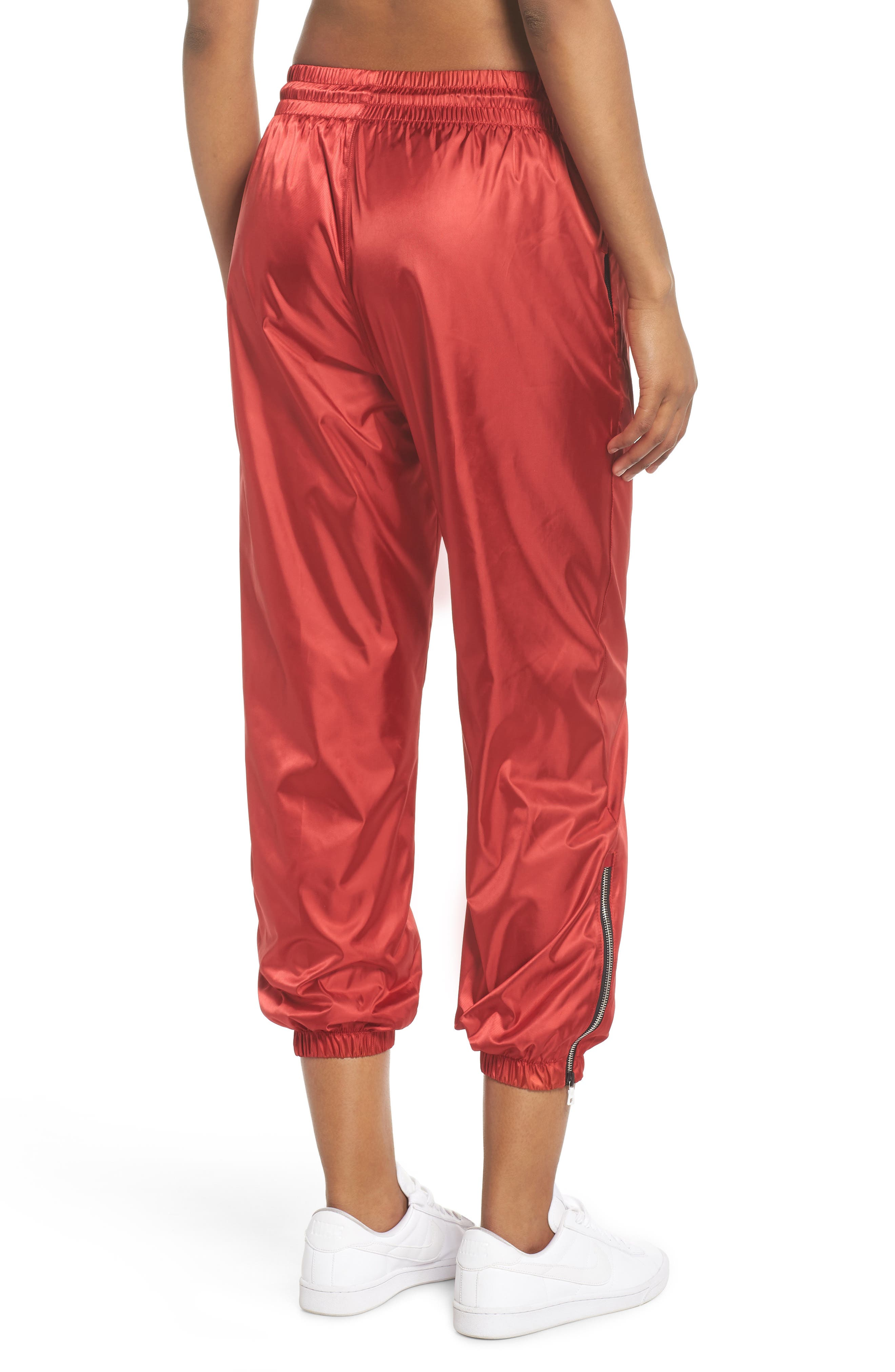 NikeLab Collection Women's Satin Track Pants,                             Alternate thumbnail 2, color,                             Gym Red/ Black