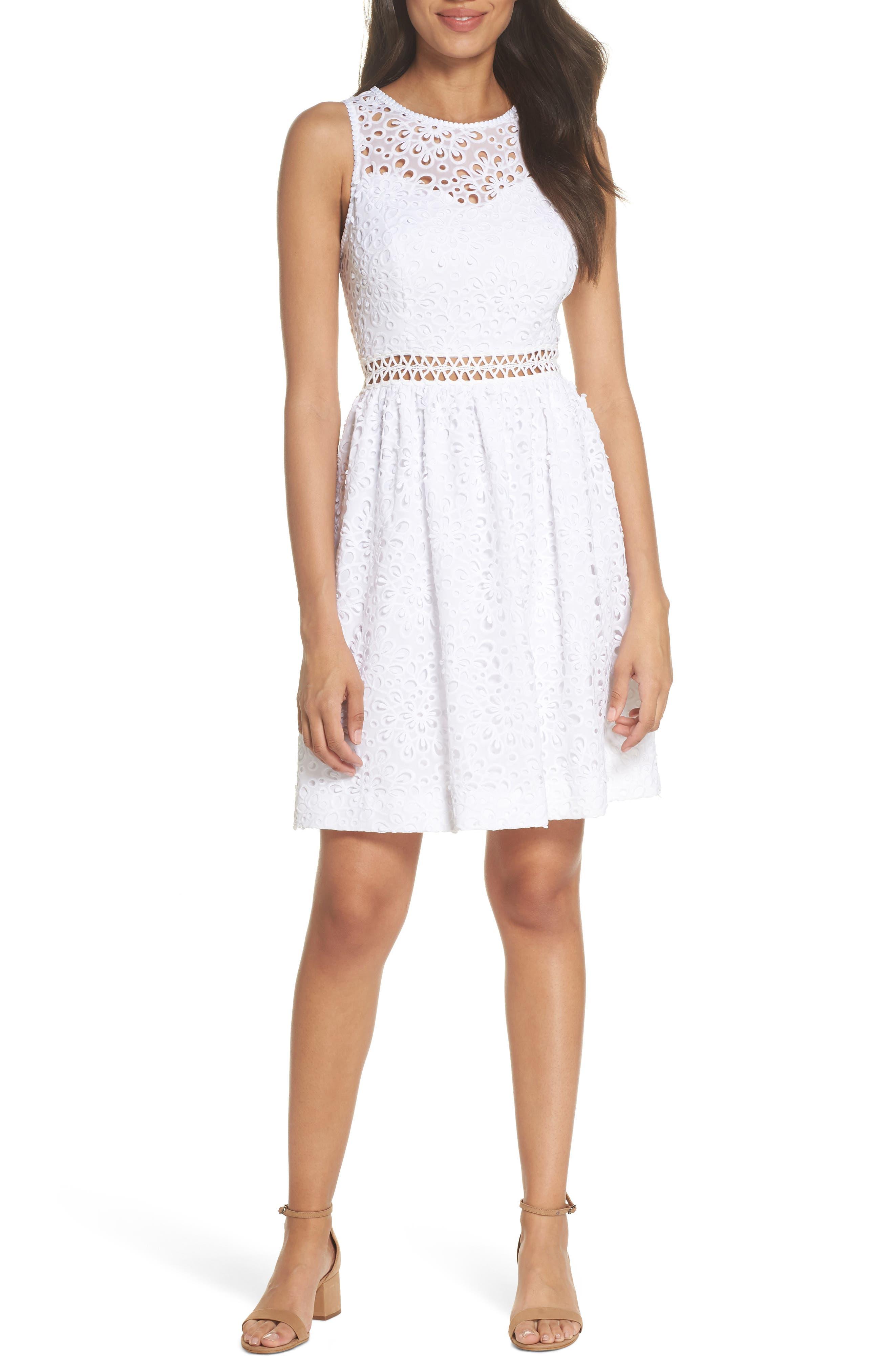 Alivia Eyelet Fit & Flare Dress,                             Main thumbnail 1, color,                             Resort White Sea Spray