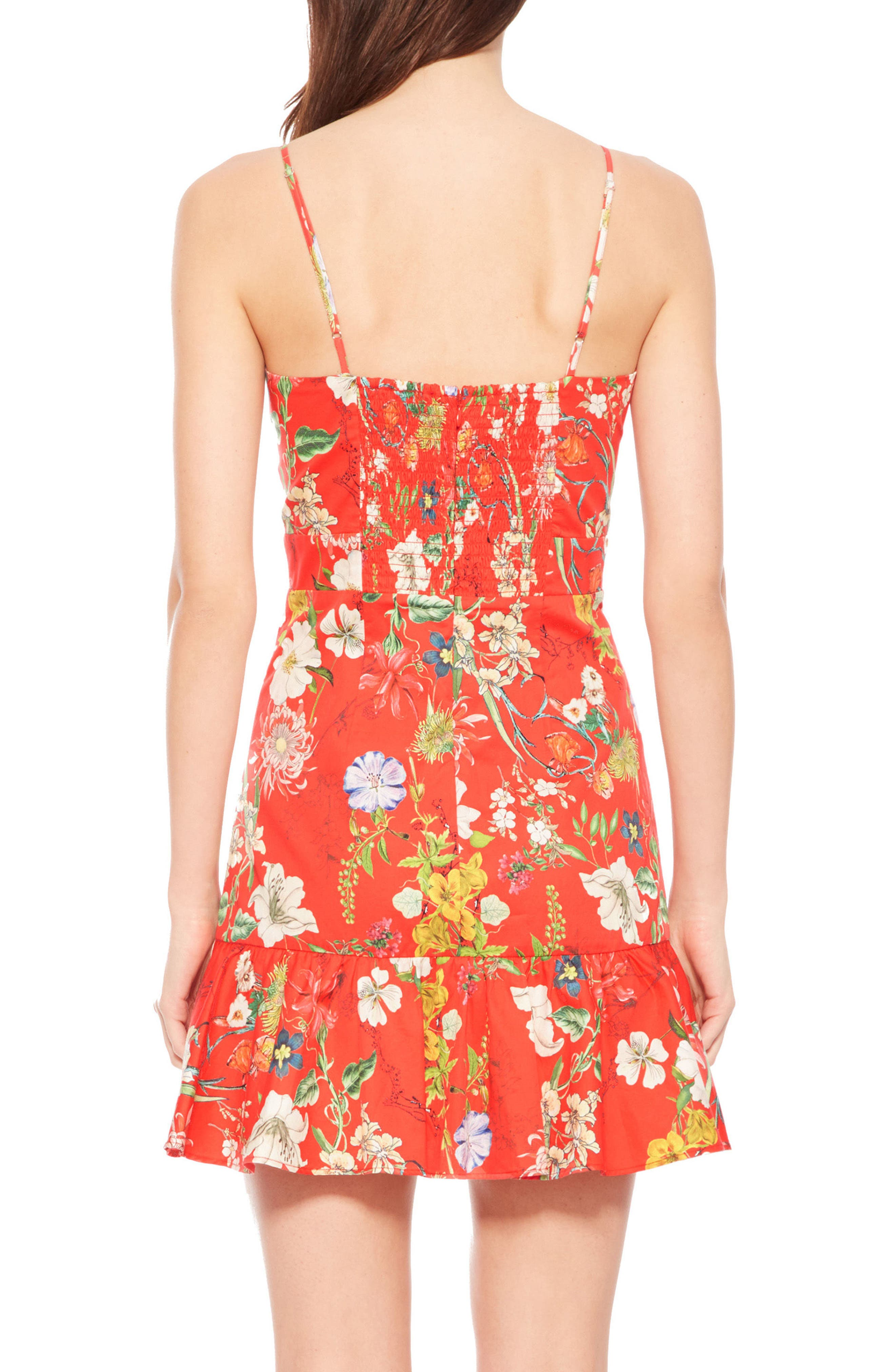 Dany Floral Dress,                             Alternate thumbnail 2, color,                             Red Sangria
