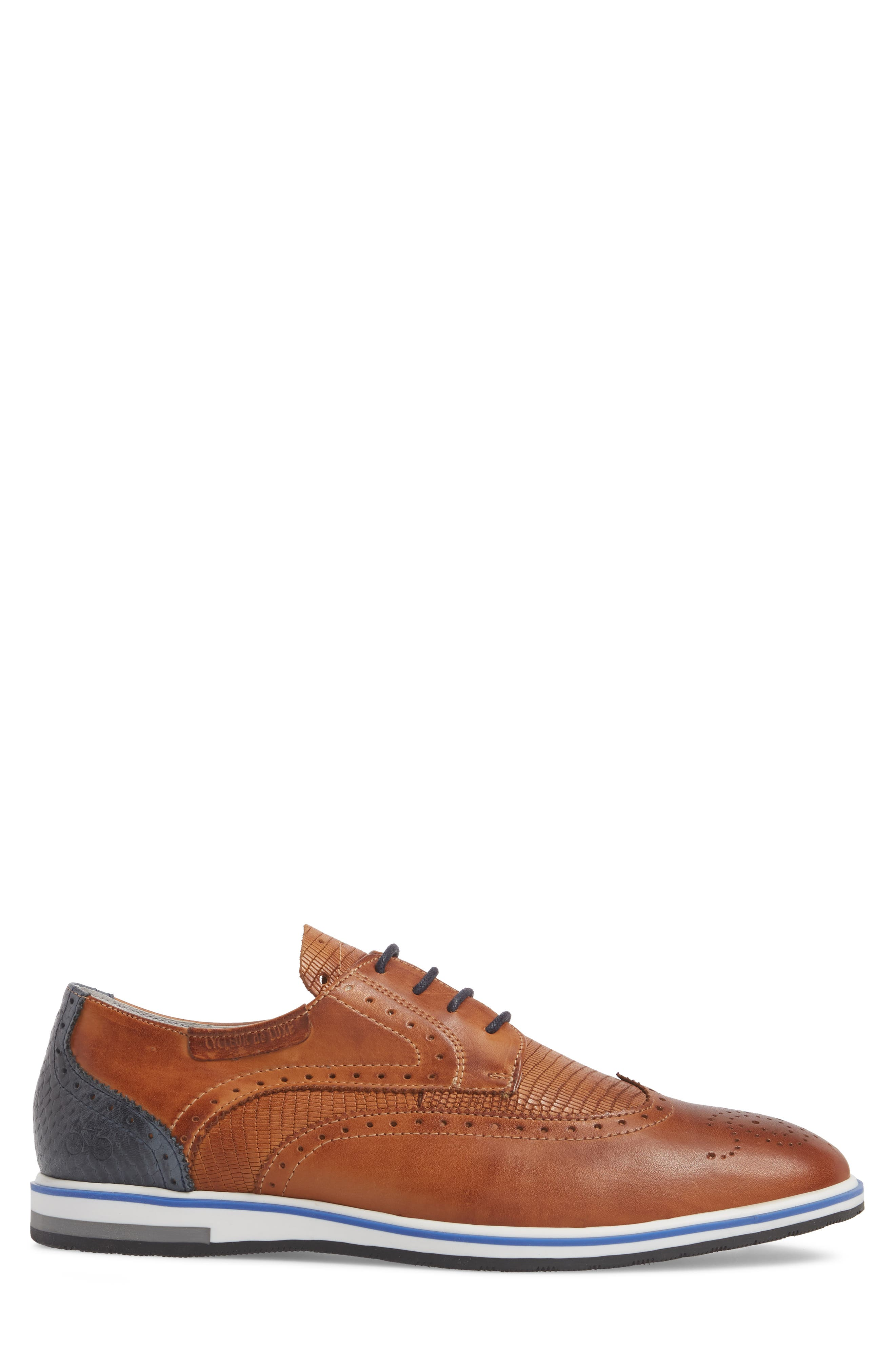 Pulsano Textured Wingtip,                             Alternate thumbnail 3, color,                             Cognac/ Denim Leather