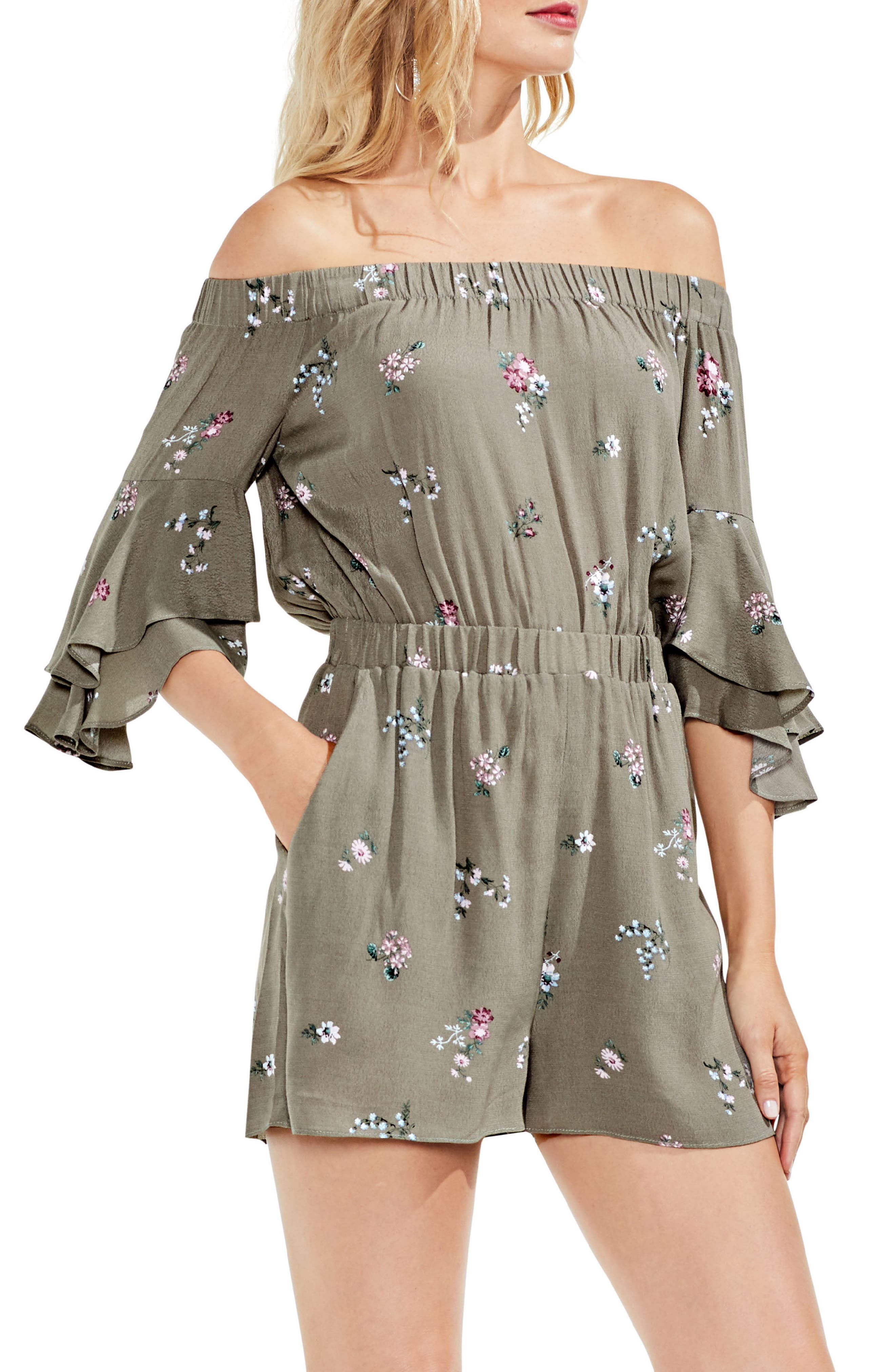 Off the Shoulder Ruffle Sleeve Floral Romper,                             Main thumbnail 1, color,                             Camo Green