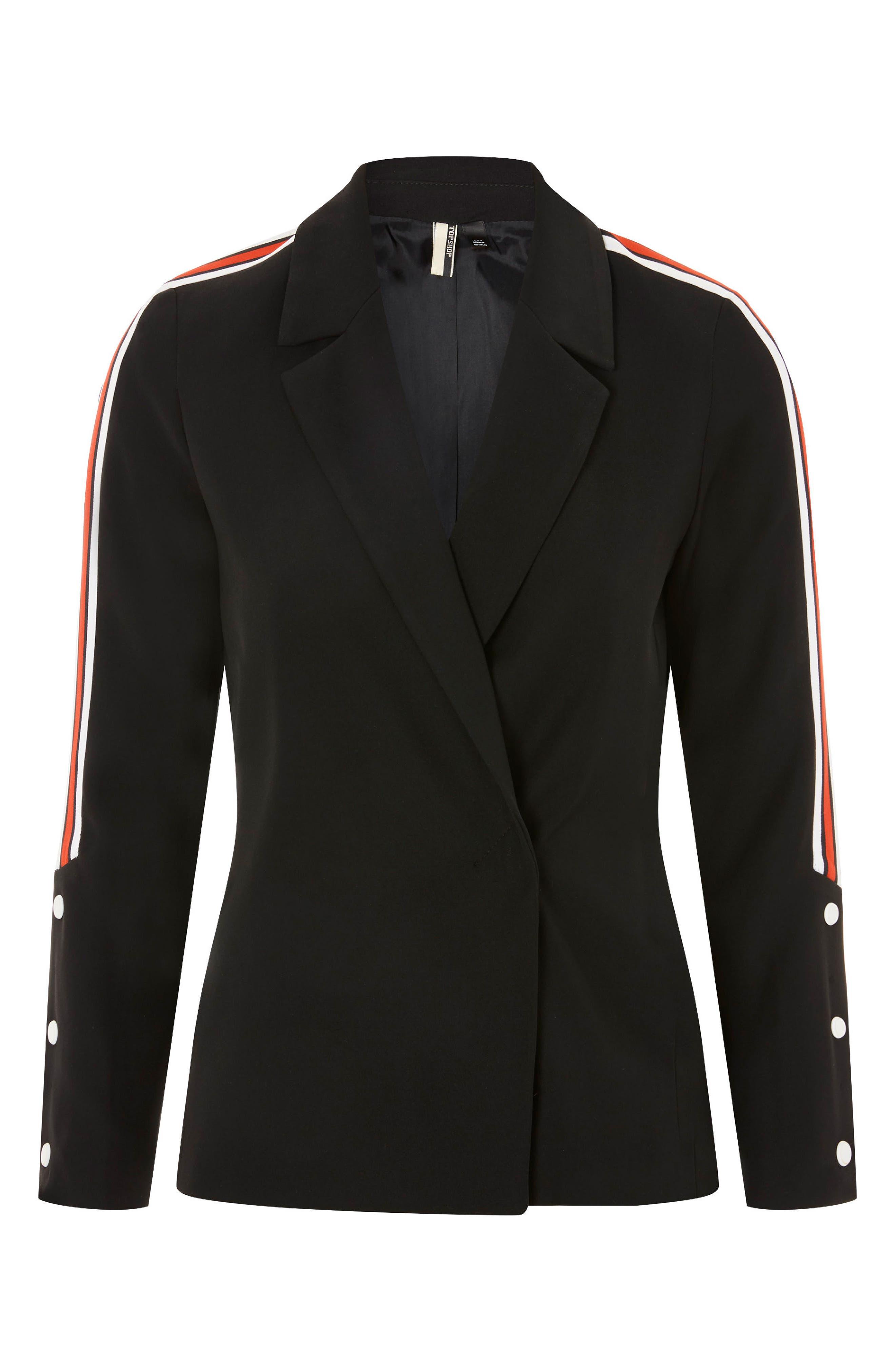 Side Stripe Popper Blazer,                             Alternate thumbnail 4, color,                             Black Multi