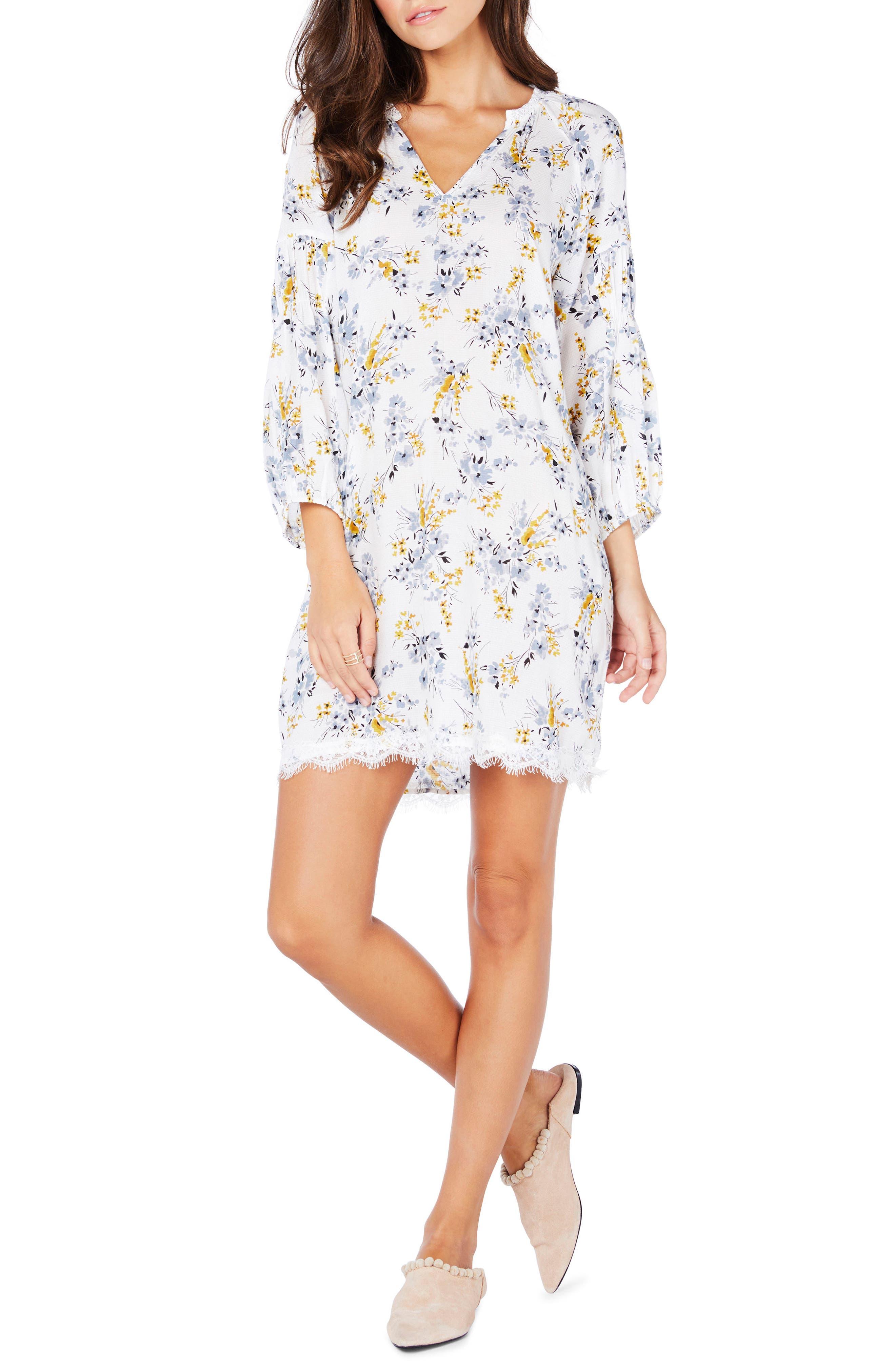 Floral Lace Trim Peasant Dress,                             Main thumbnail 1, color,                             Dandelion