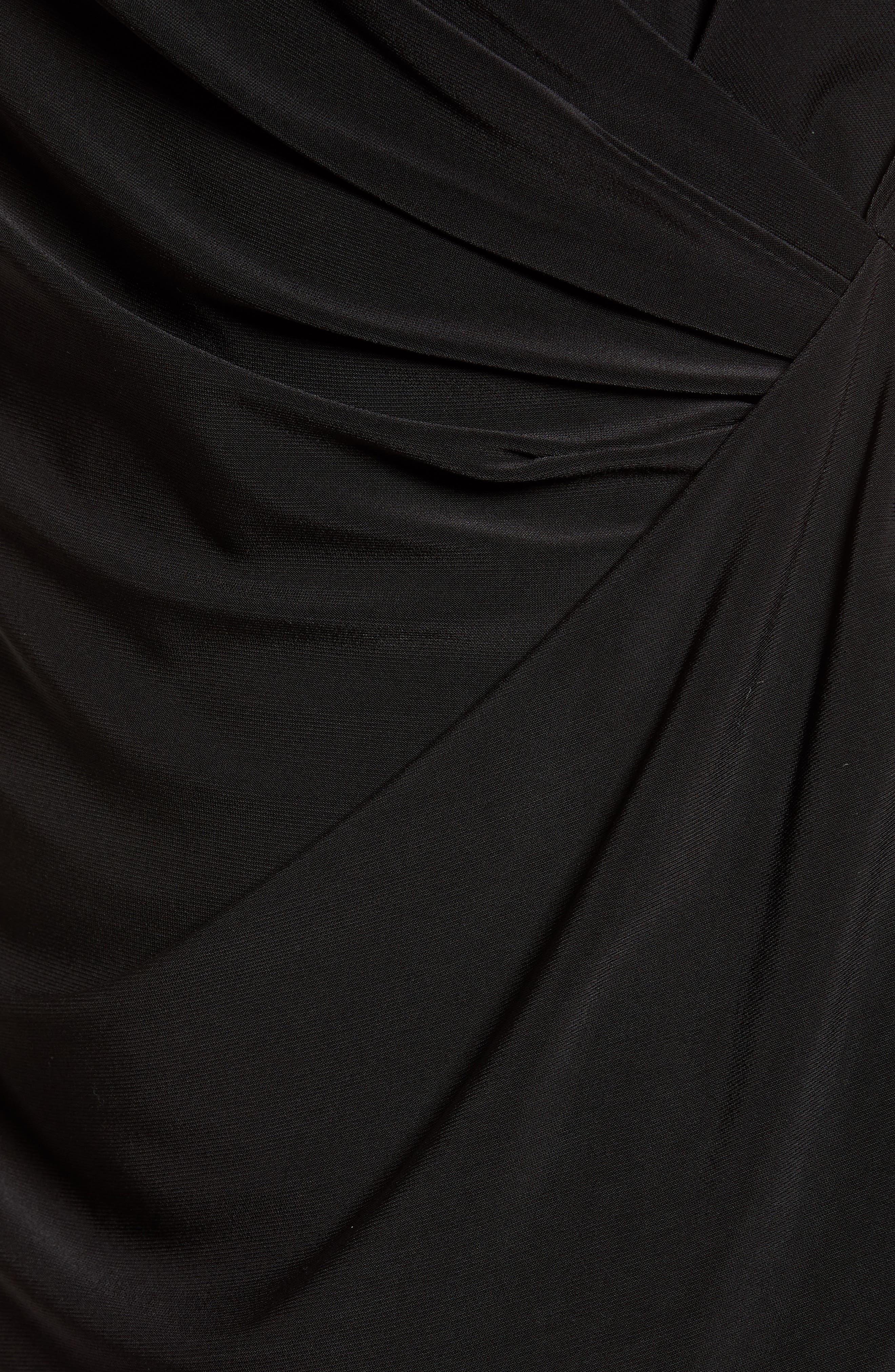 Faux Wrap Matte Jersey Tank,                             Alternate thumbnail 6, color,                             Black Onyx