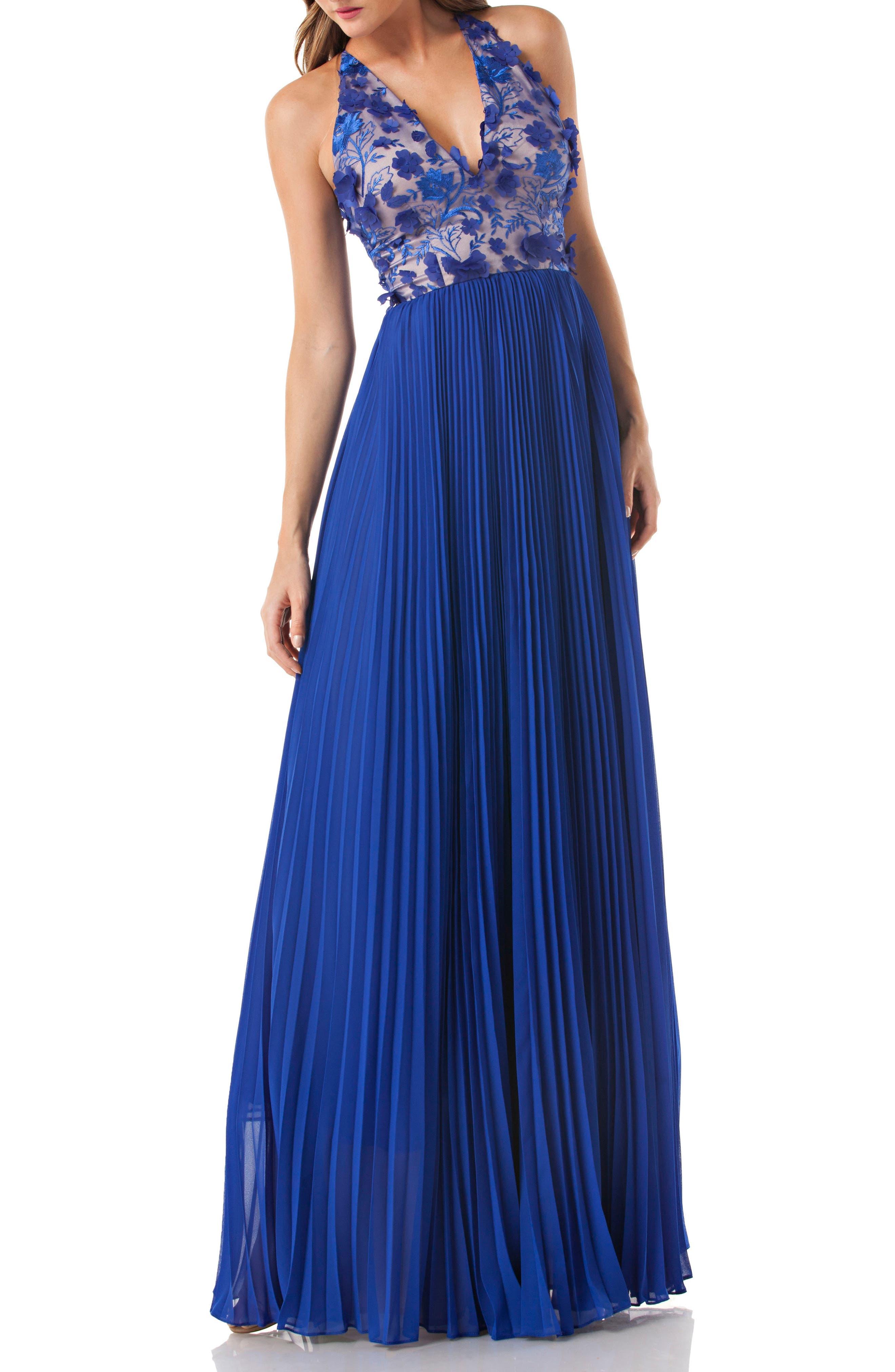 Petals Halter Gown,                             Main thumbnail 1, color,                             Cobalt