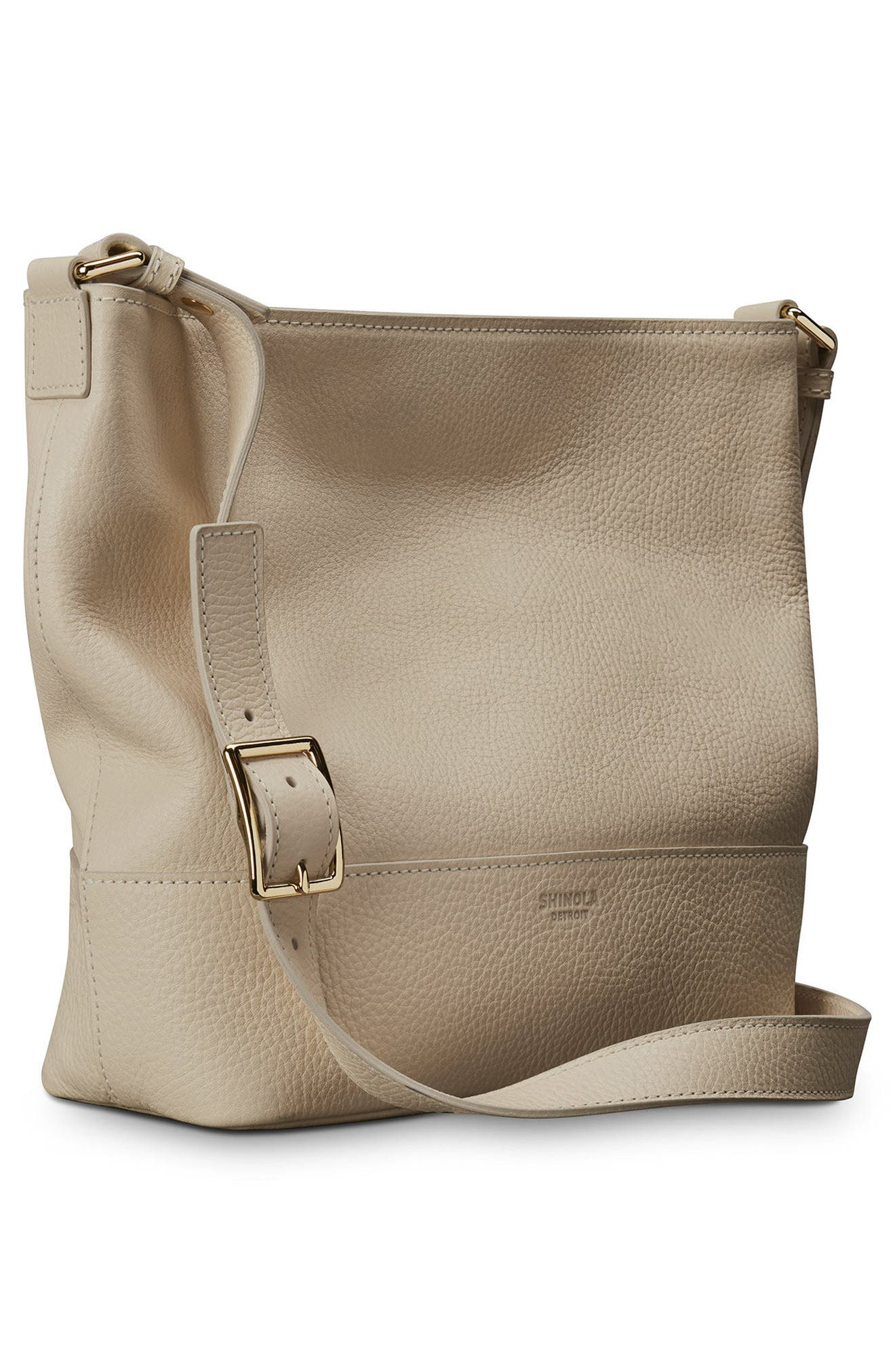 Small Relaxed Leather Hobo Bag,                             Alternate thumbnail 4, color,                             Stone