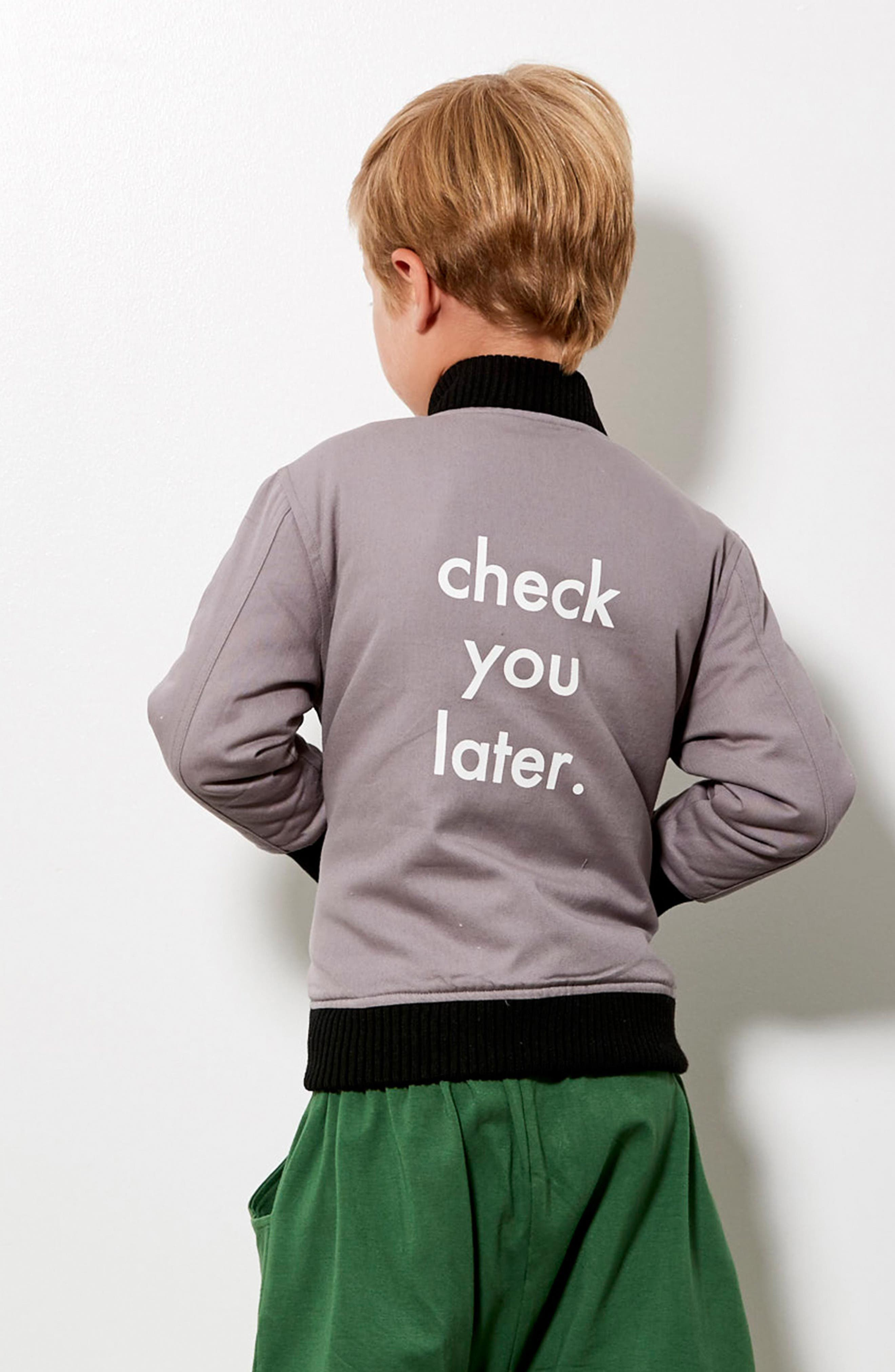 Check You Later Bomber Jacket,                             Alternate thumbnail 3, color,                             Grey