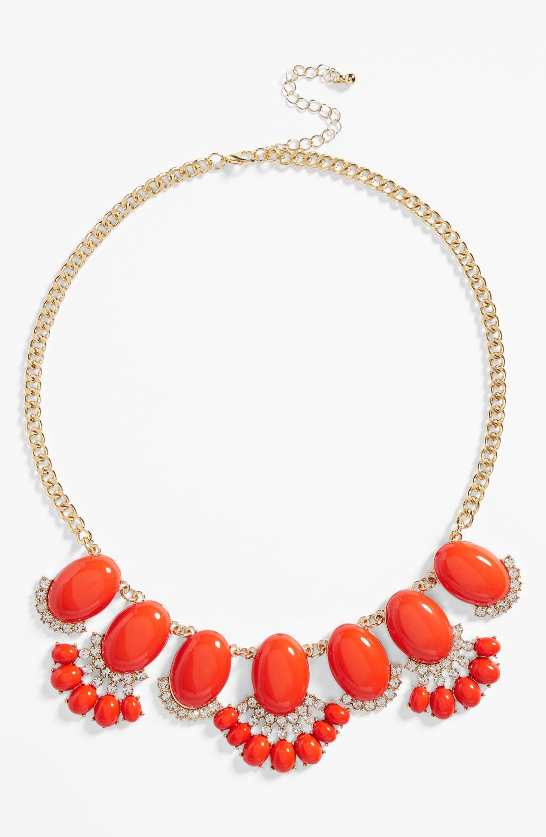 Fan Statement Necklace,                         Main,                         color, Hot Coral