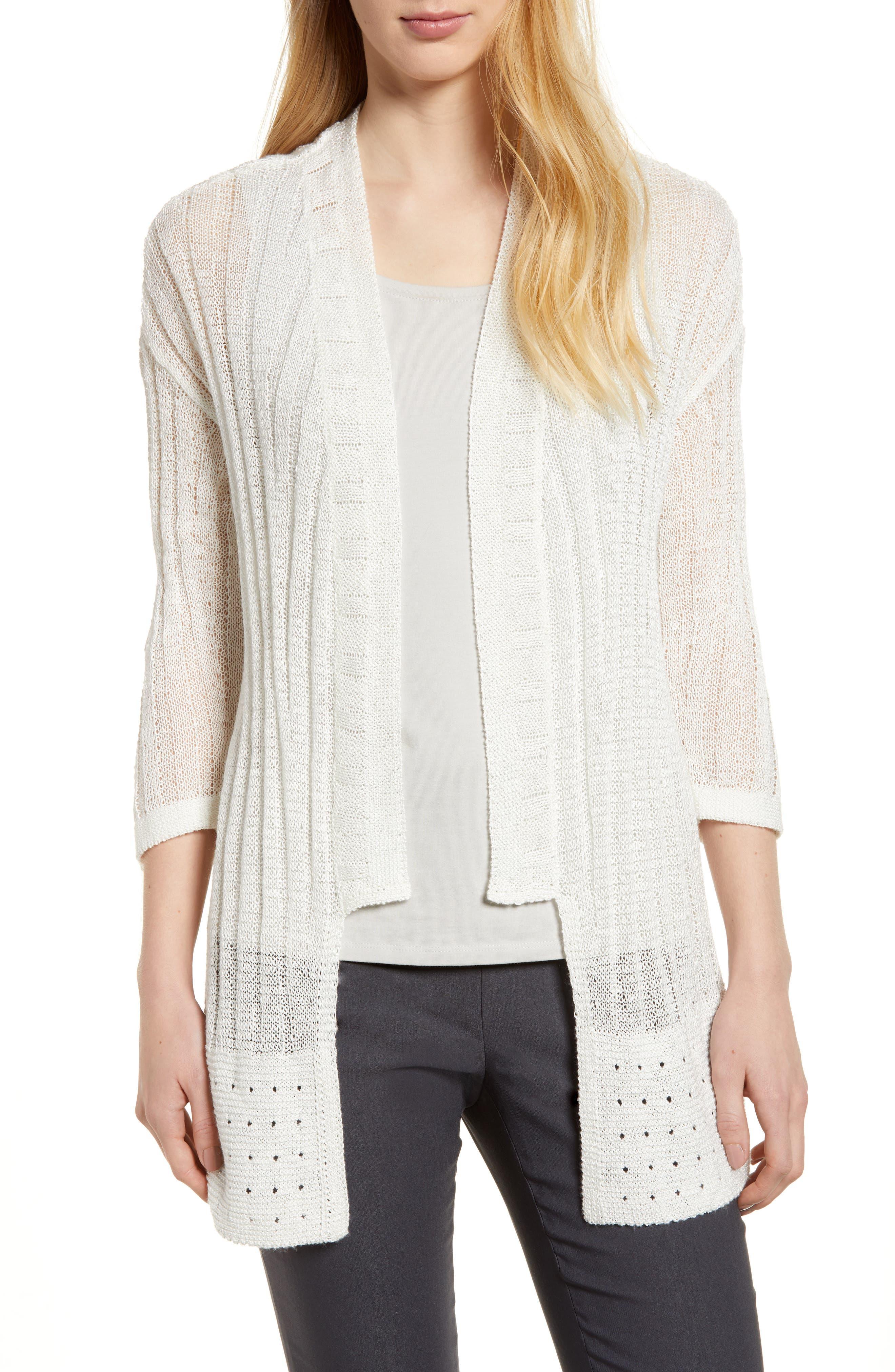 Changing Tides Linen Blend Open Front Cardigan,                         Main,                         color, Milk White
