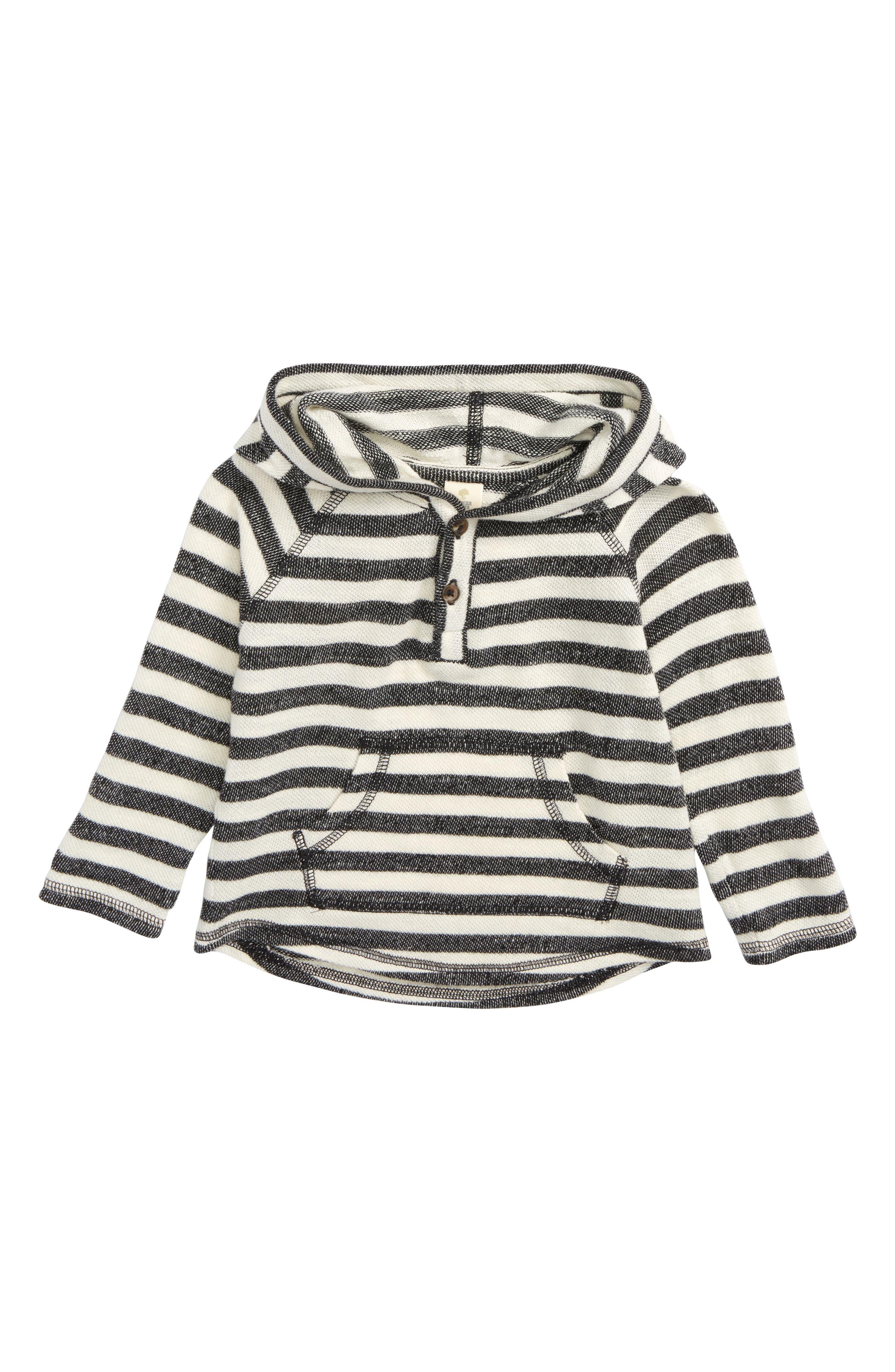 Stripe Henley Hoodie,                         Main,                         color, Black- Ivory Stripe