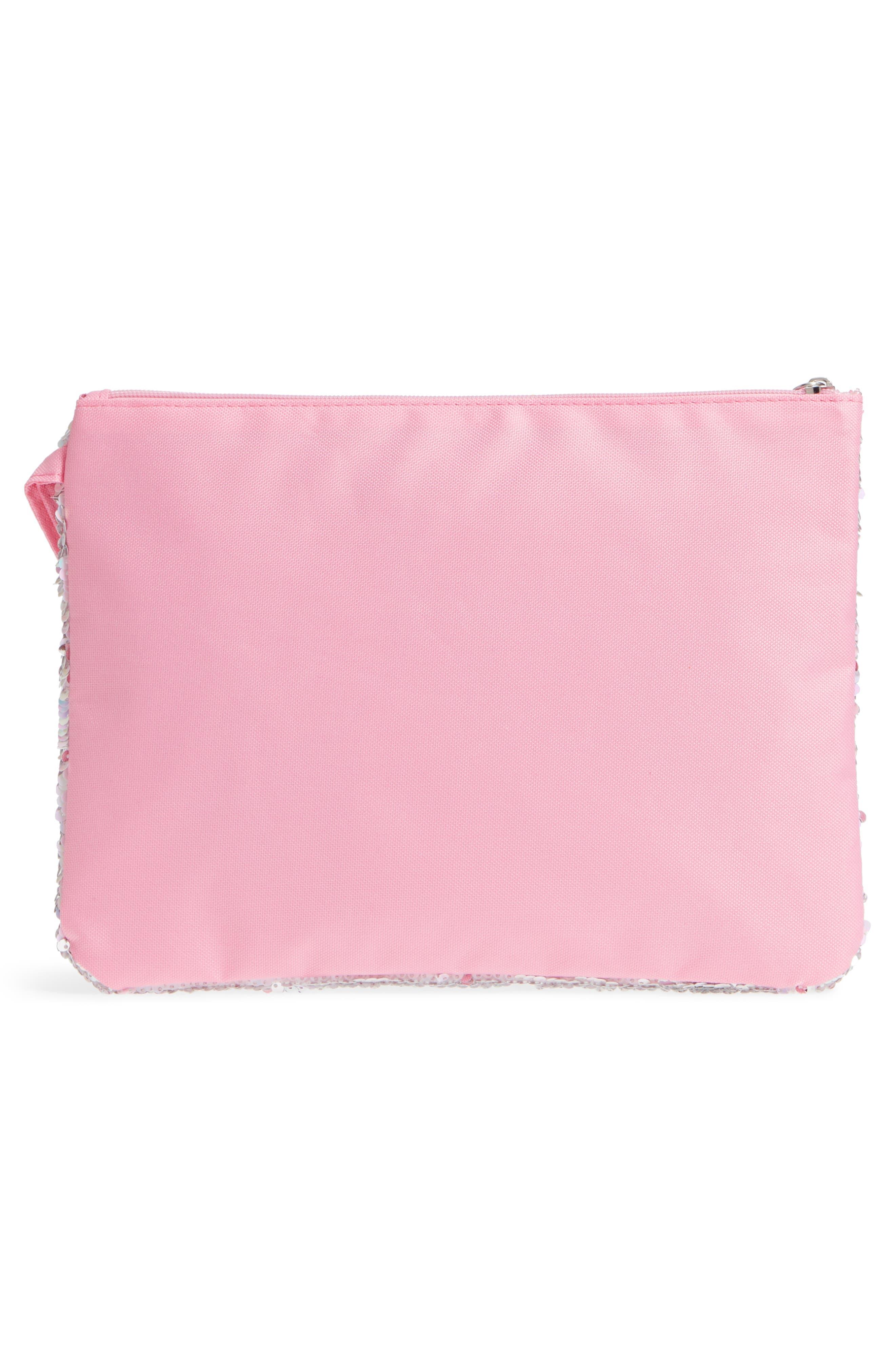 Sequin Bikini Bag,                             Alternate thumbnail 3, color,                             Pink Combo