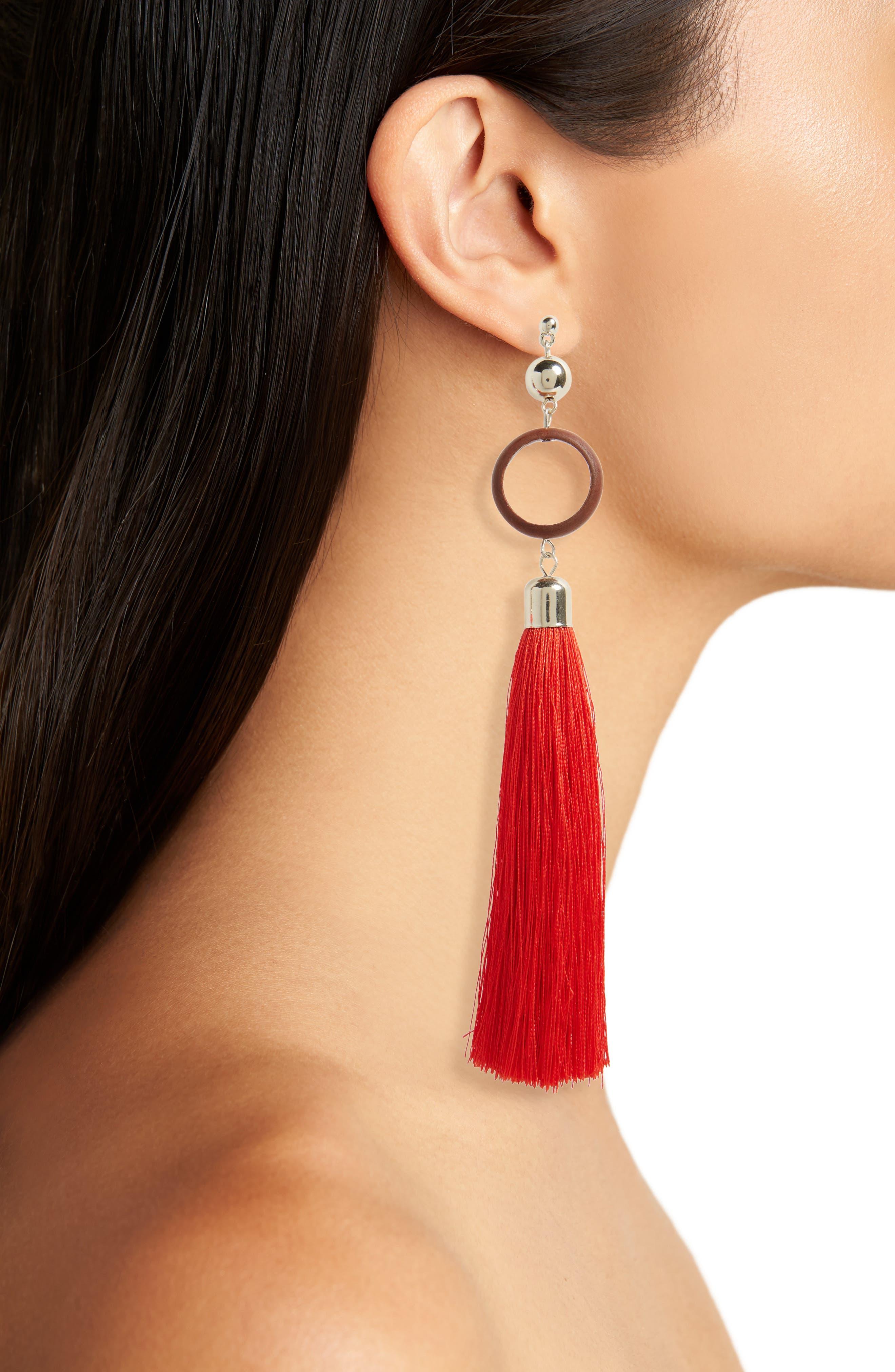 Wood Circle Tassel Earrings,                             Alternate thumbnail 2, color,                             Red
