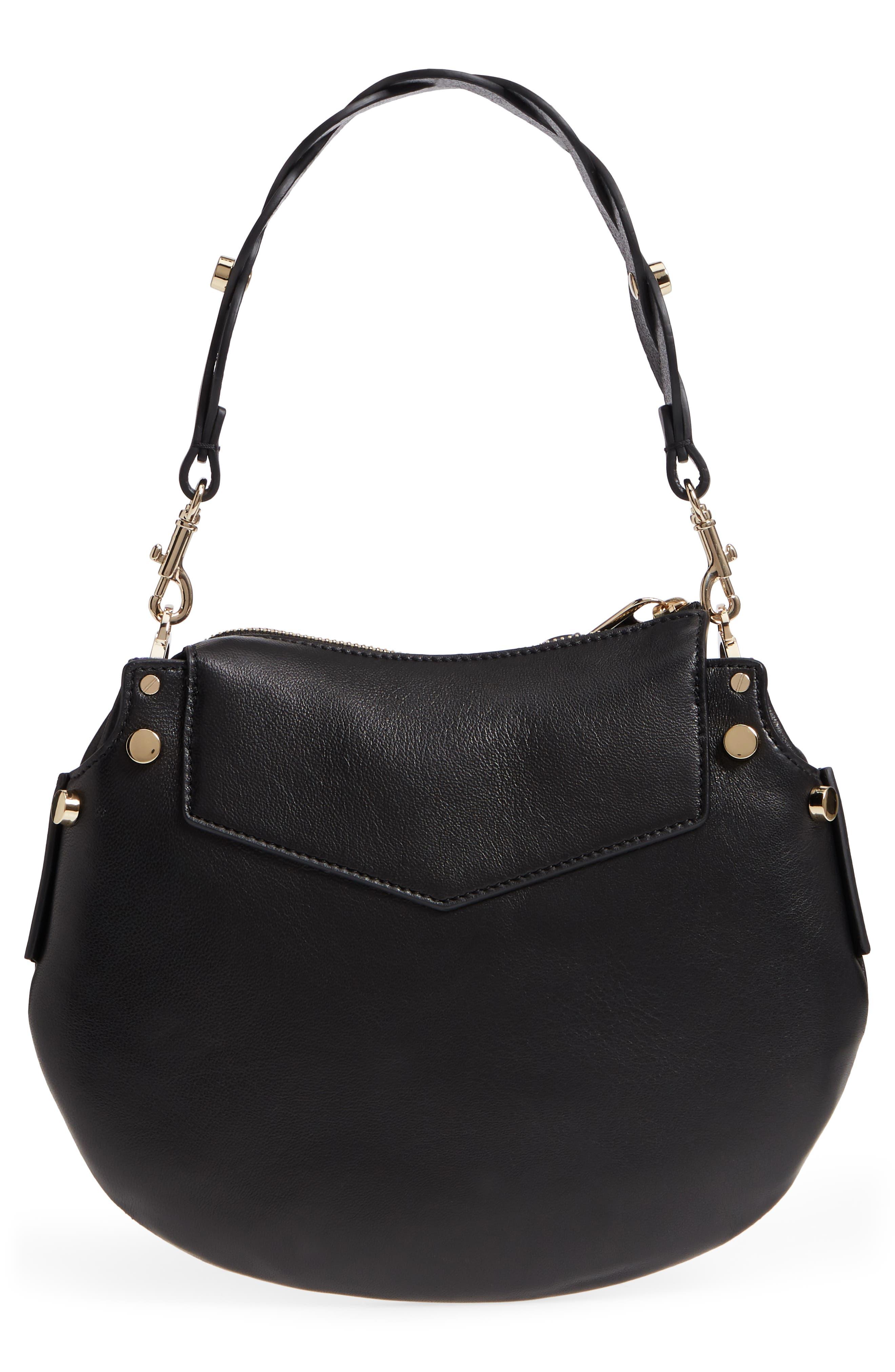 Mini Artie Leather Crossbody Bag,                             Alternate thumbnail 3, color,                             Black