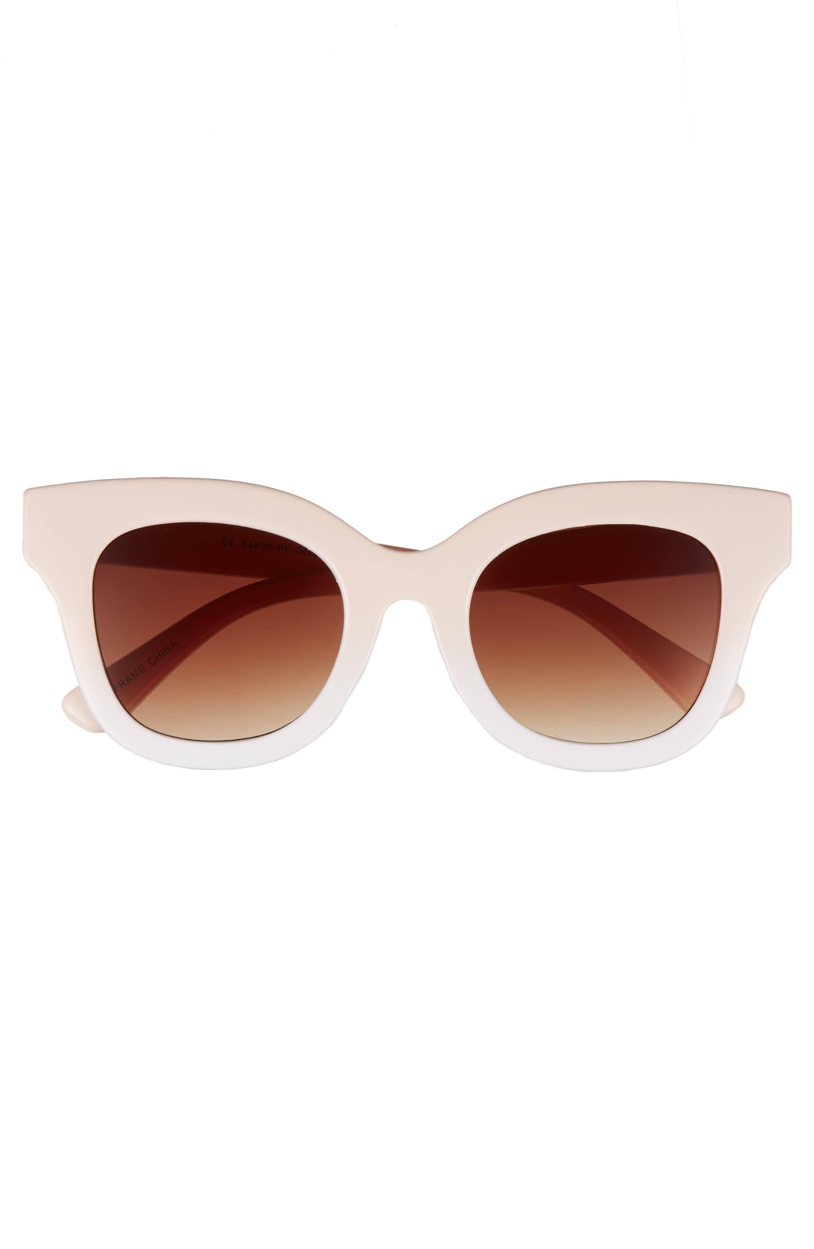 50mm Ombré Square Sunglasses,                             Alternate thumbnail 3, color,                             Pink