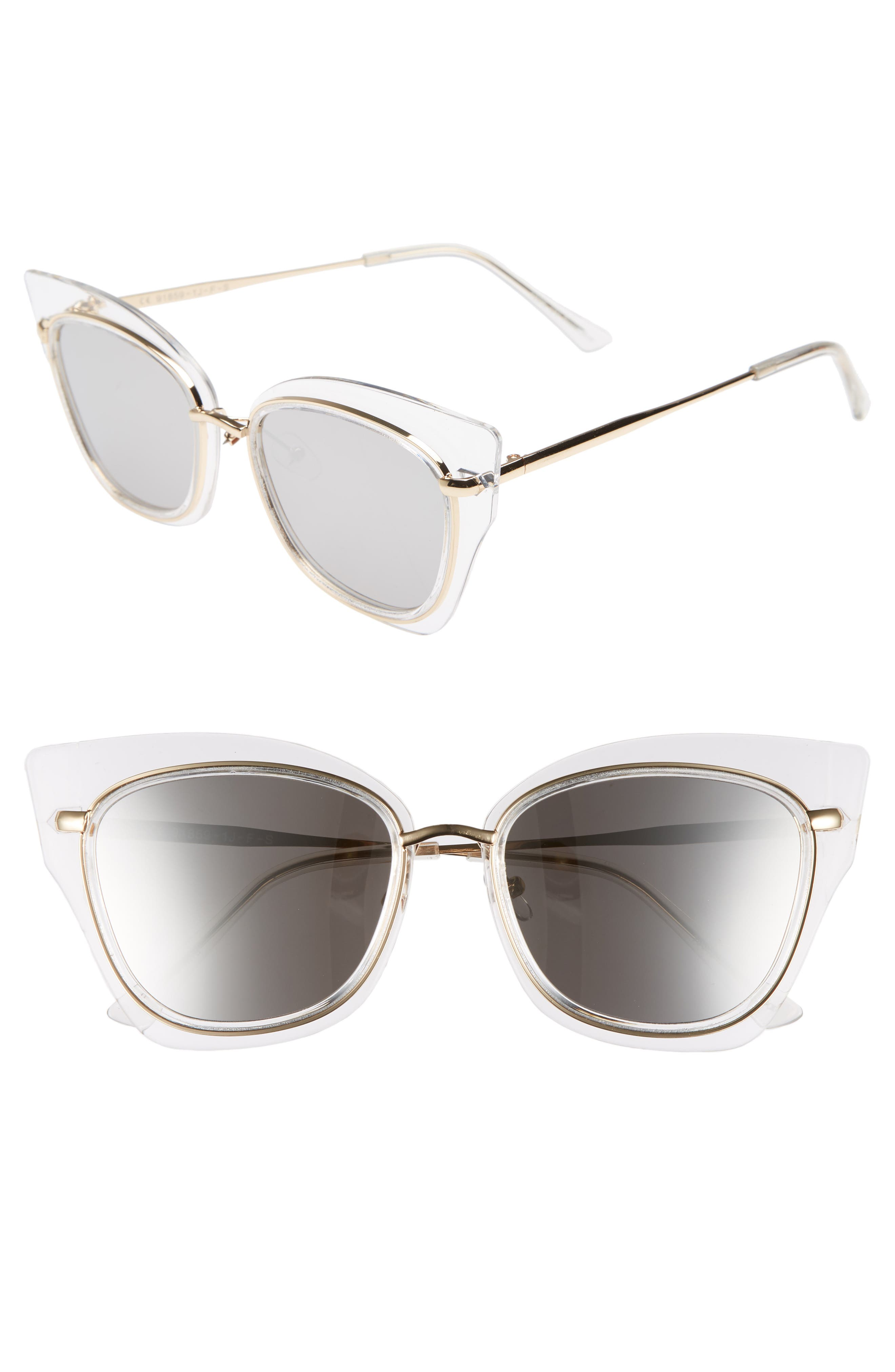 55mm Clear Winged Cat Eye Sunglasses,                             Main thumbnail 1, color,                             Clear/ Gold