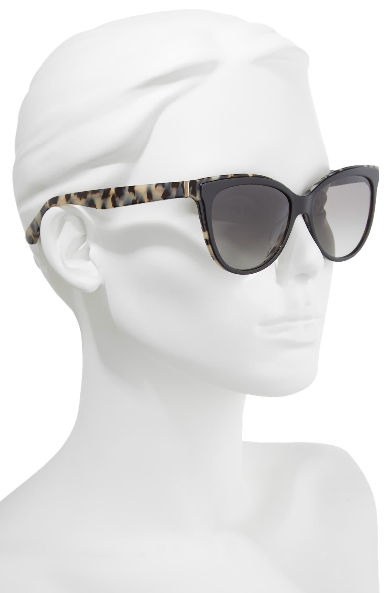 daeshas 56mm cat eye sunglasses,                             Alternate thumbnail 2, color,                             Black Havana Polar
