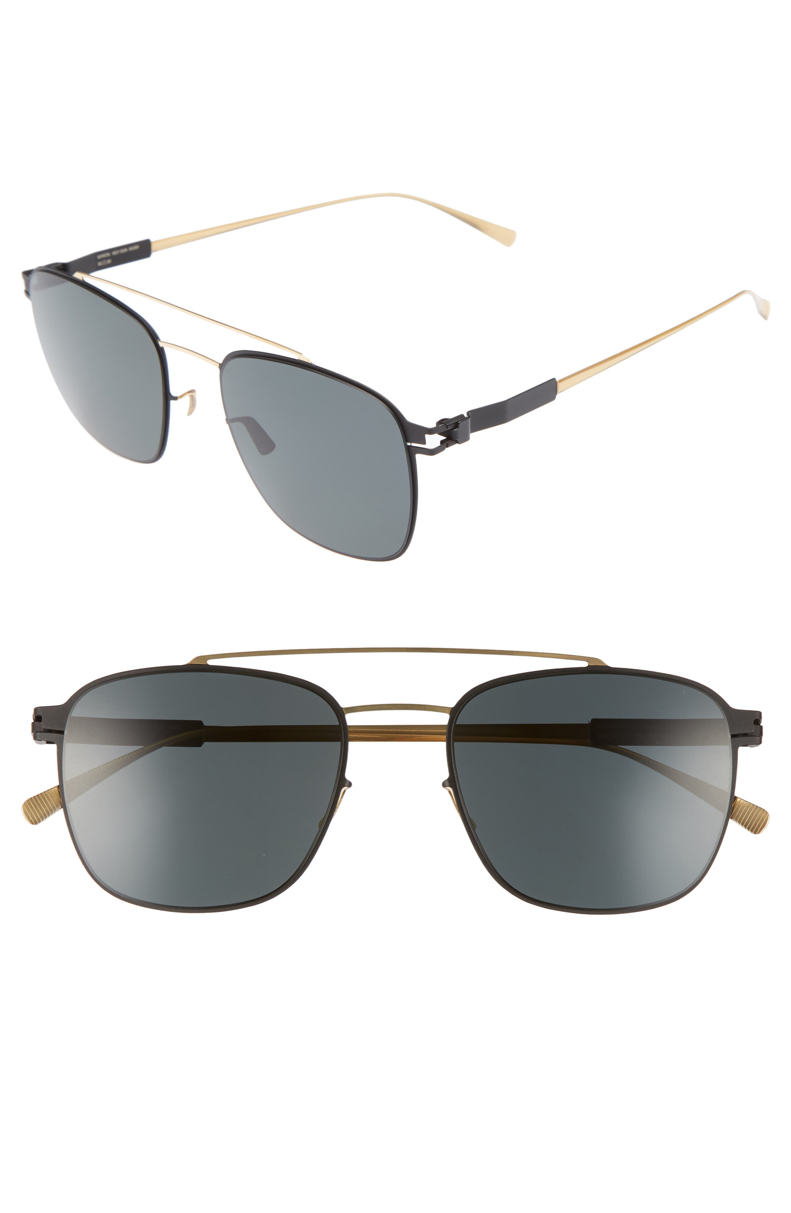 Hugh 52mm Polarized Sunglasses,                         Main,                         color, Gold/ Black