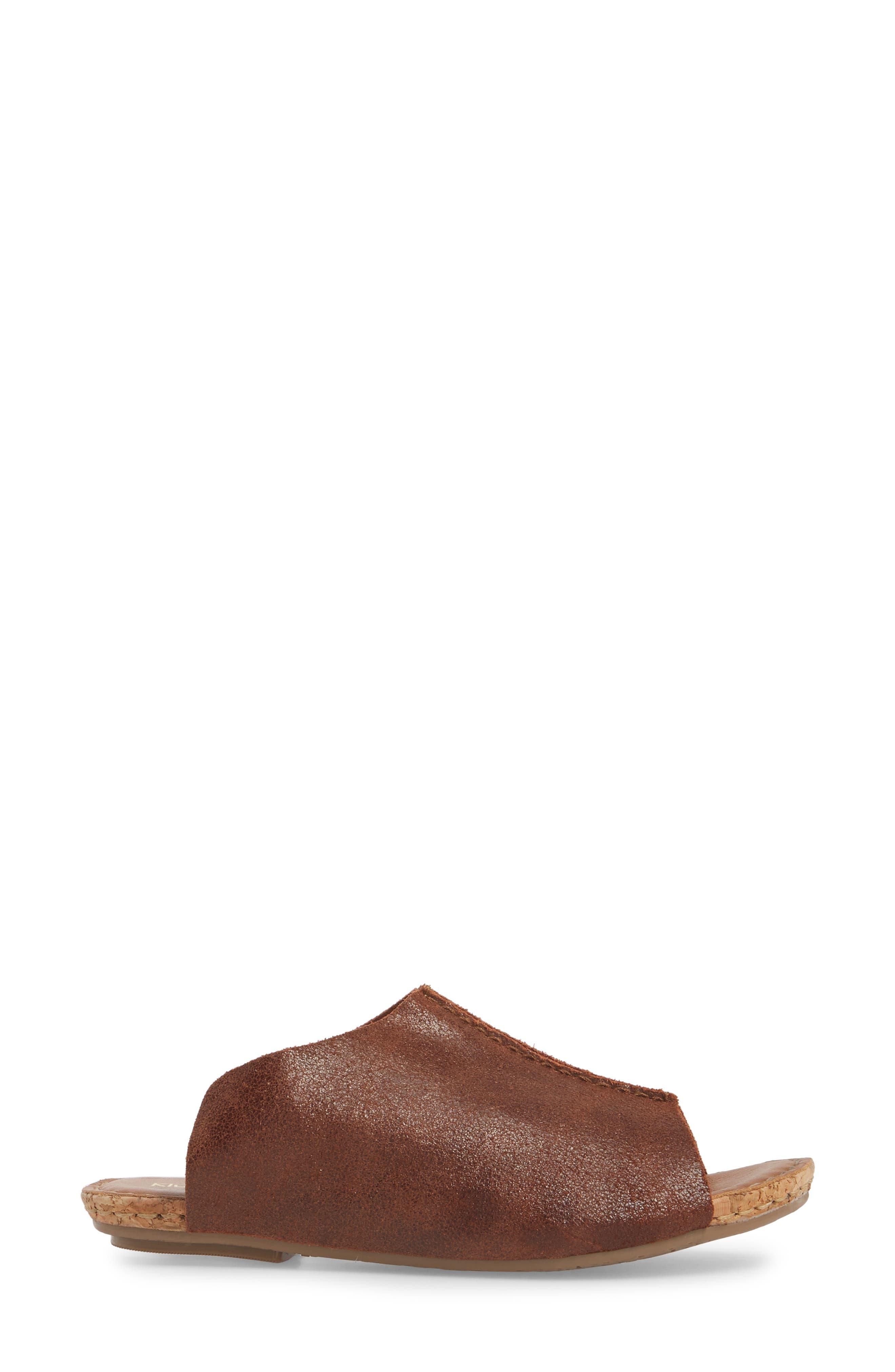 Gracey Slide Sandal,                             Alternate thumbnail 3, color,                             Rum Leather