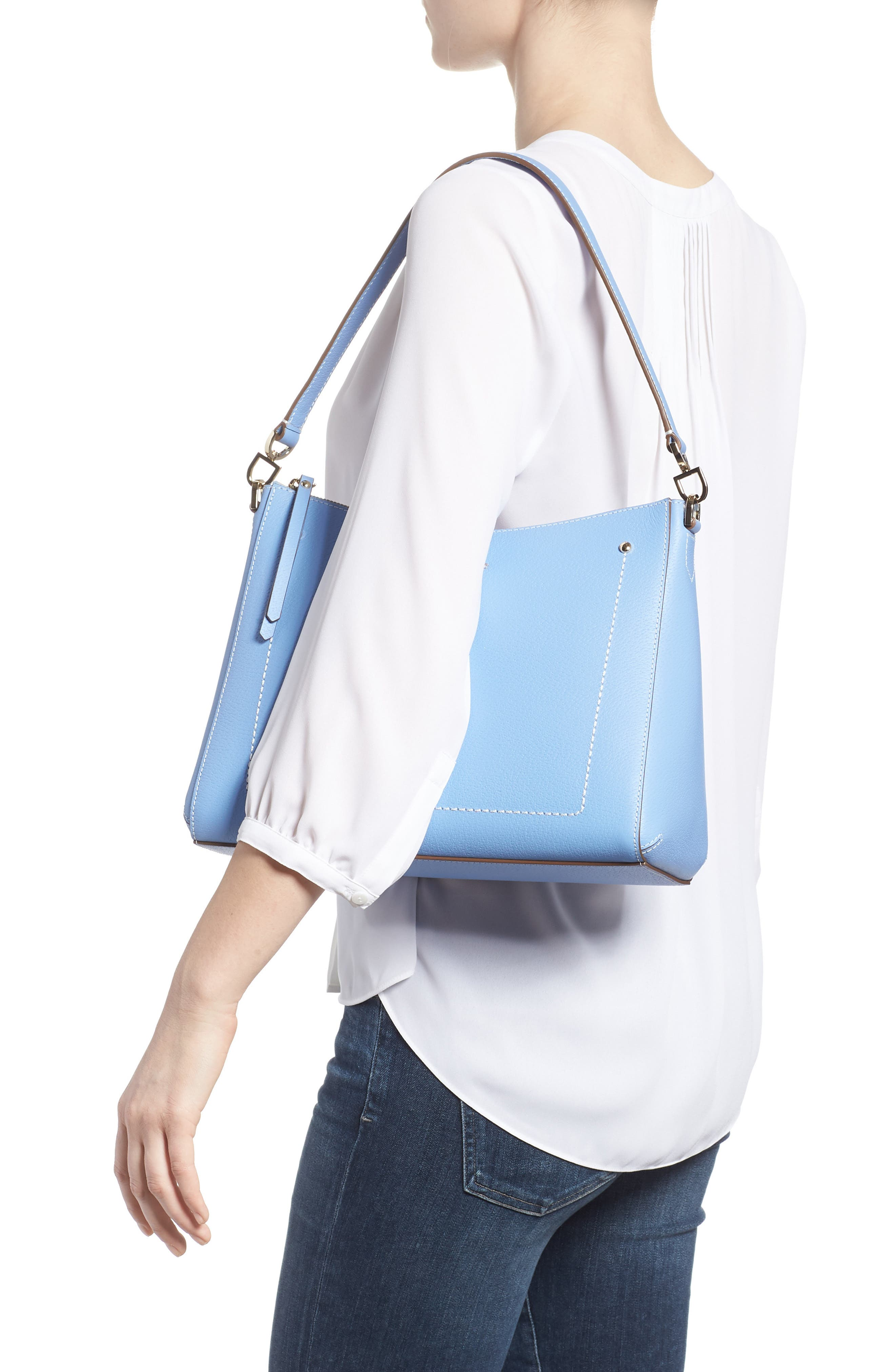 thompson street - marti leather shoulder/crossbody bag,                             Alternate thumbnail 2, color,                             Fable Blue