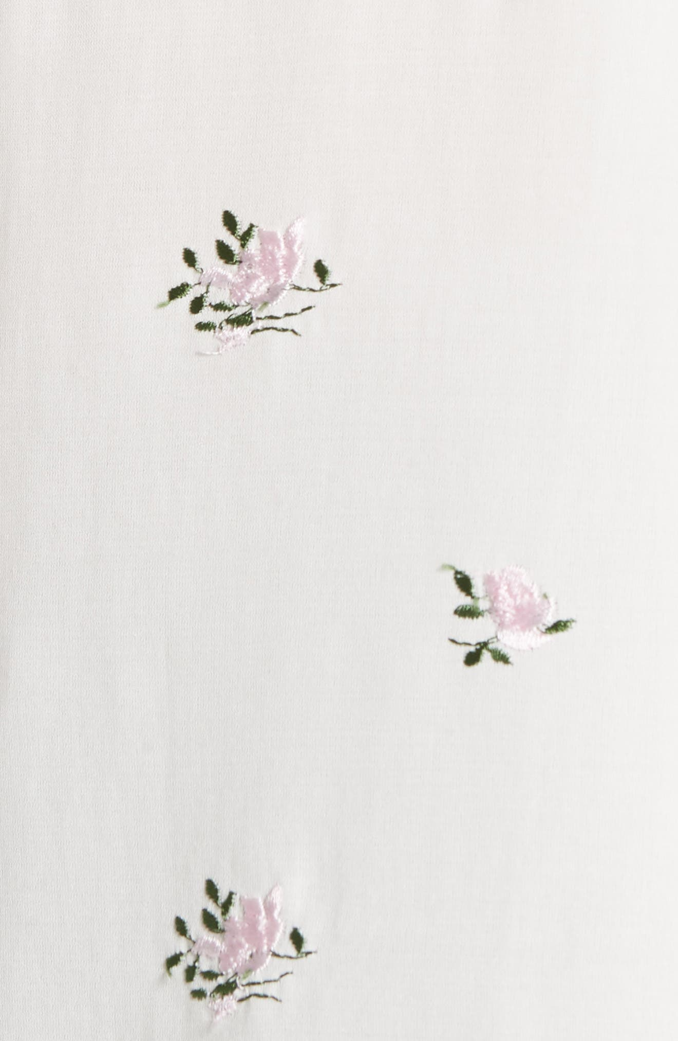 Embroidered Ruffle Trim Silk Blouse,                             Alternate thumbnail 5, color,                             Cream