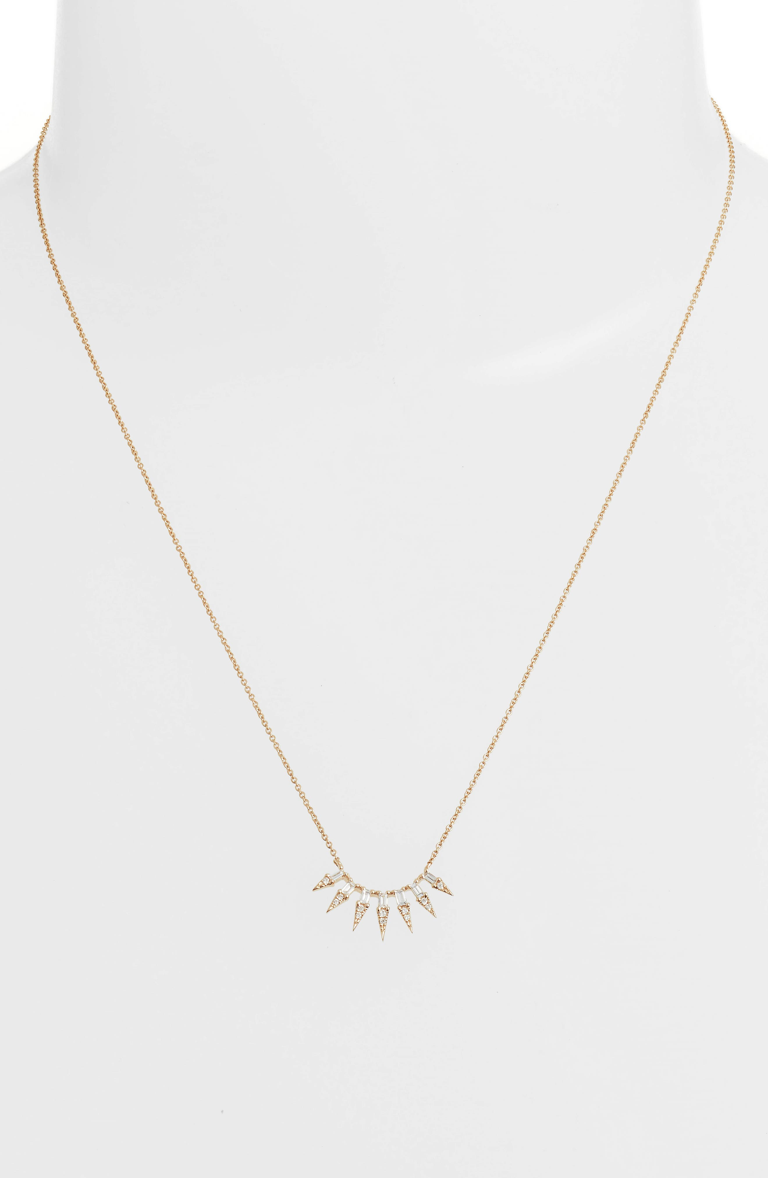 Sadie Pearl Seven Dagger Diamond Necklace,                             Alternate thumbnail 2, color,                             Yellow Gold