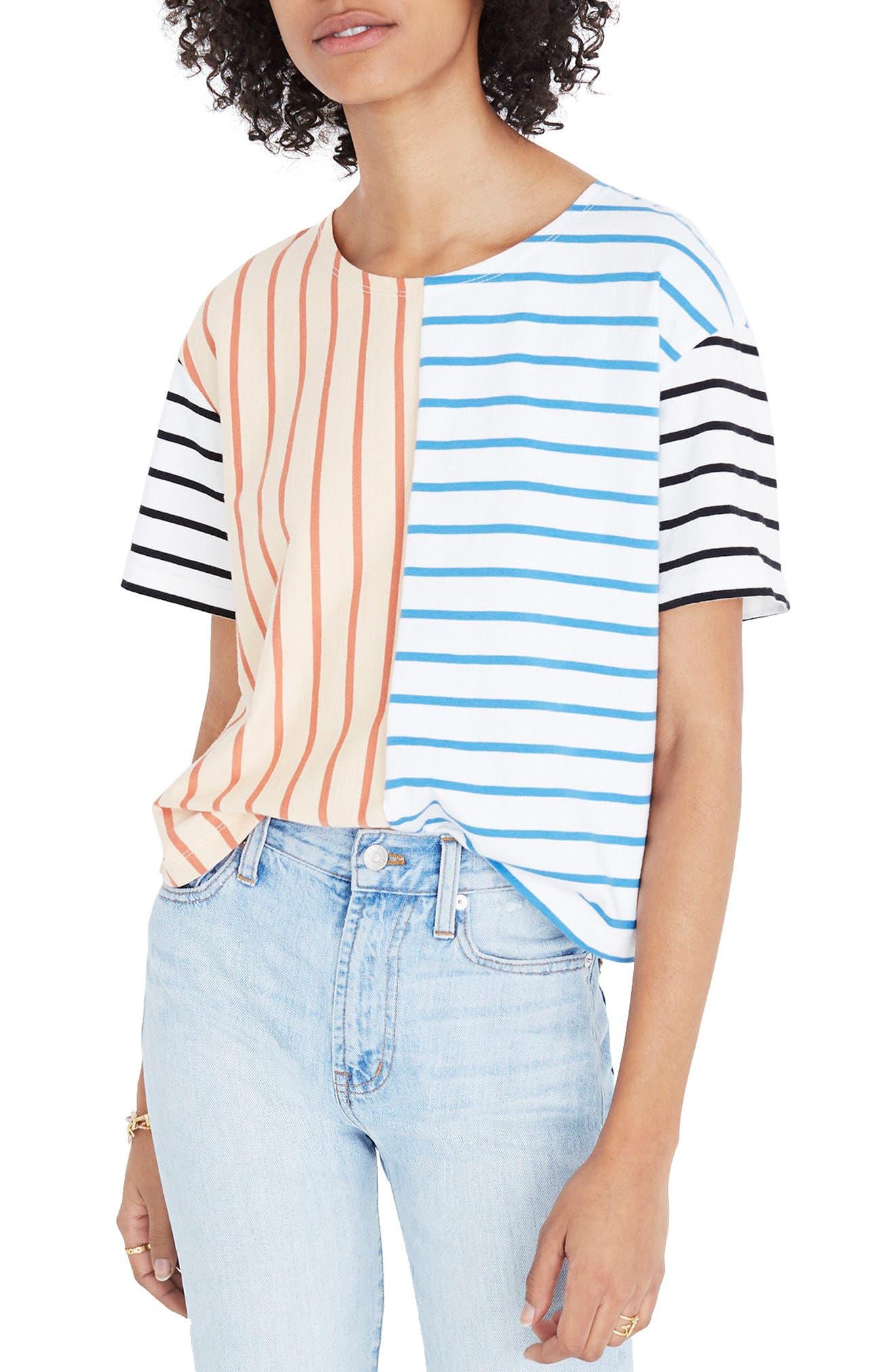 Mixed Stripe Easy Crop Tee,                         Main,                         color, Dreamy Peach