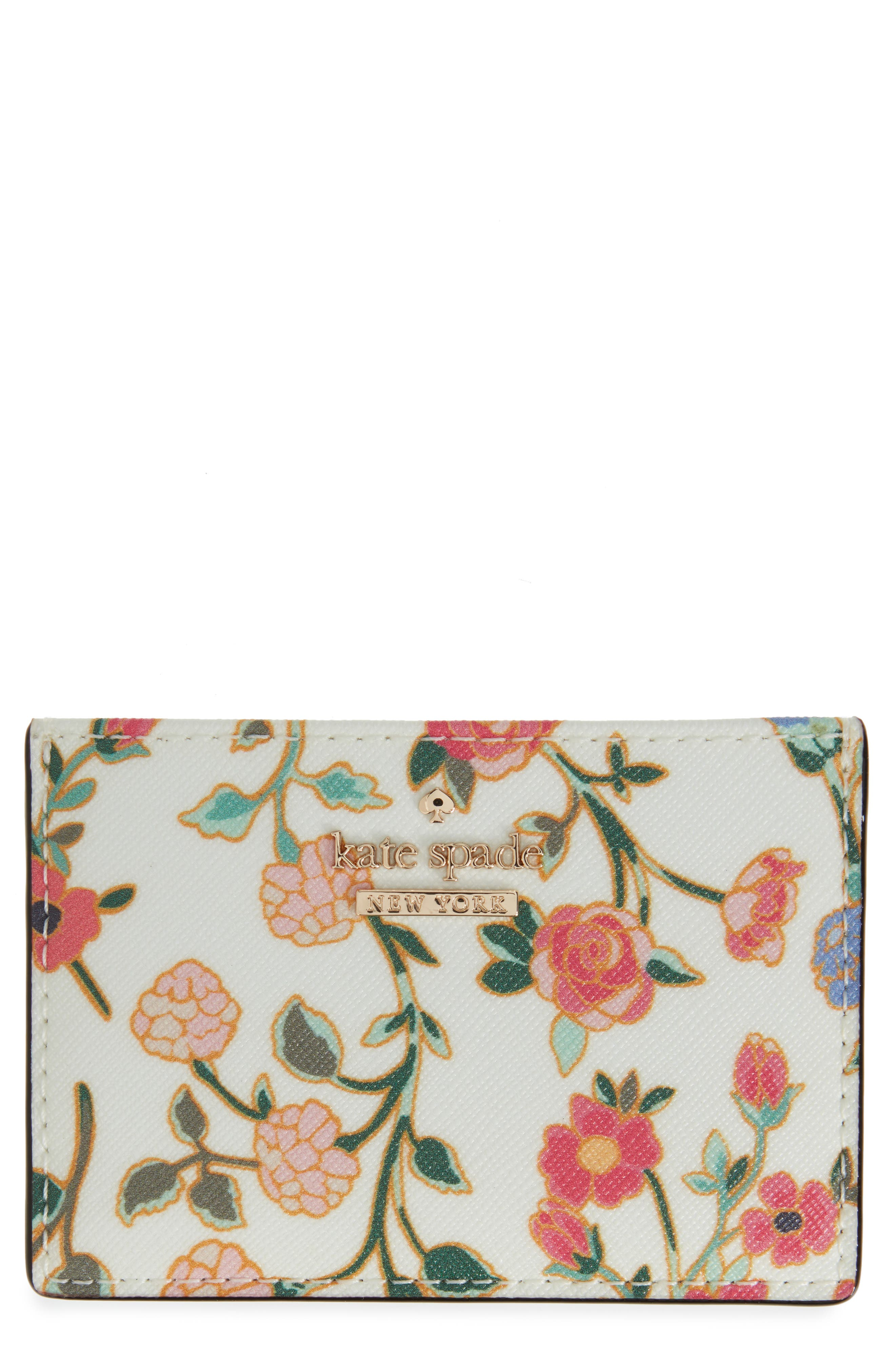 kate spade new york cameron street ditsy blossom faux leather card holder
