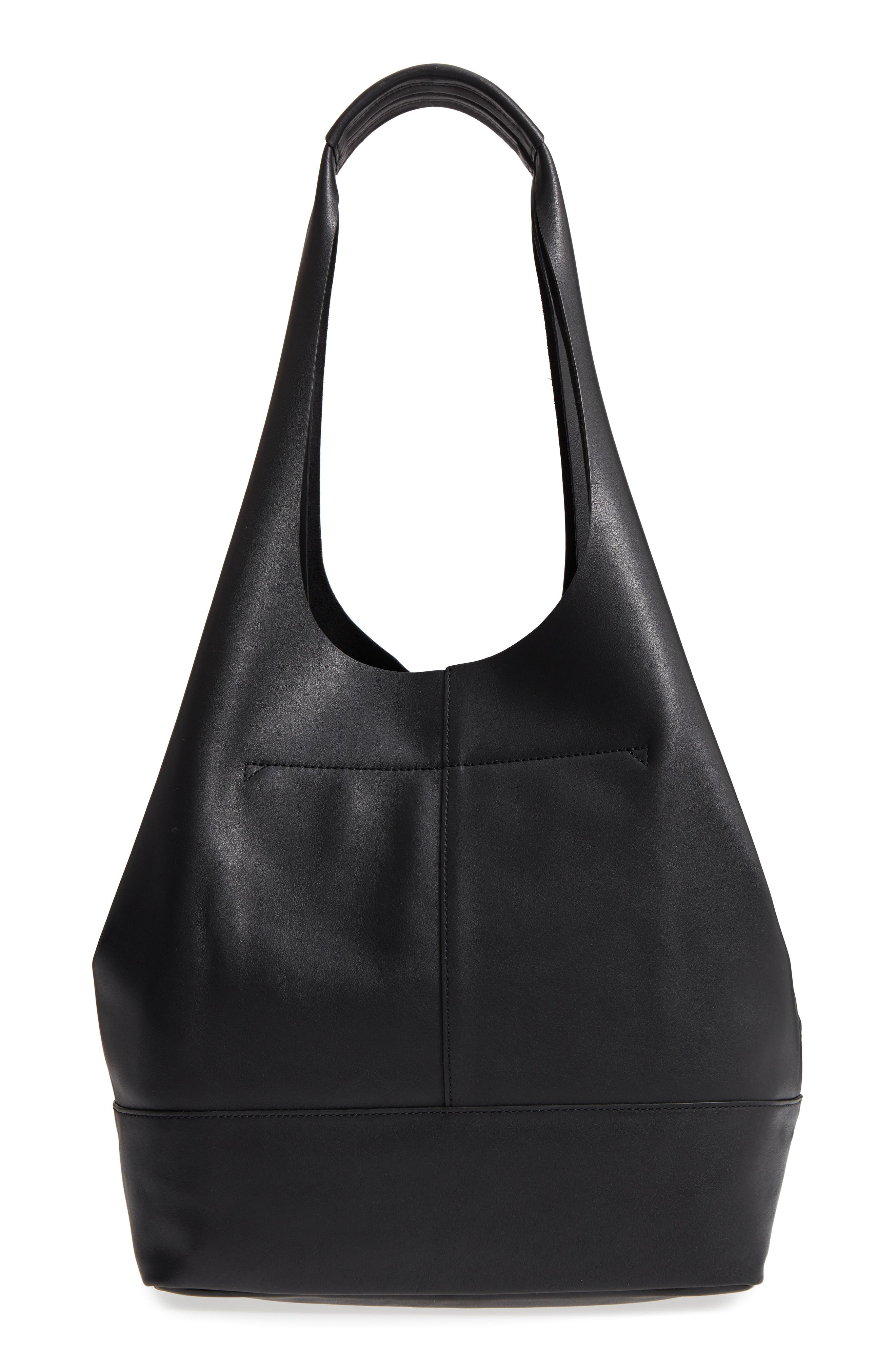 Camden Leather Tote,                             Alternate thumbnail 3, color,                             Black