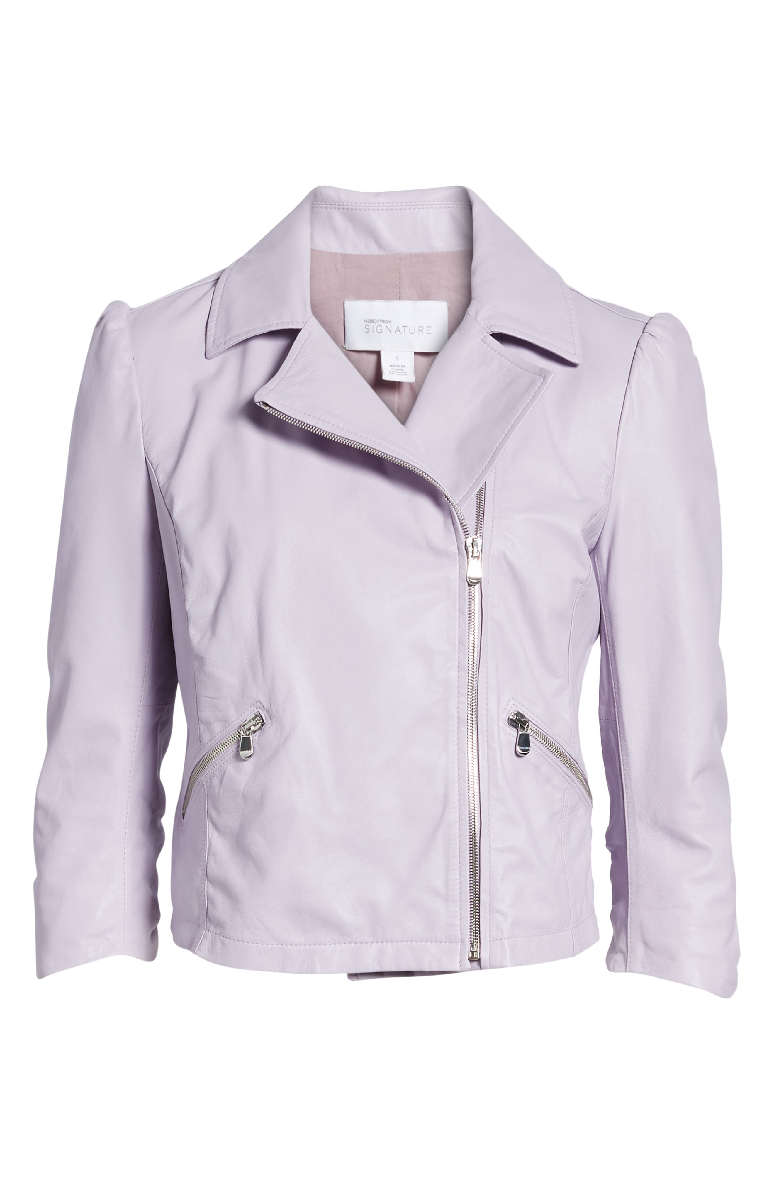 Crop Leather Moto Jacket,                             Alternate thumbnail 7, color,                             Purple Petal