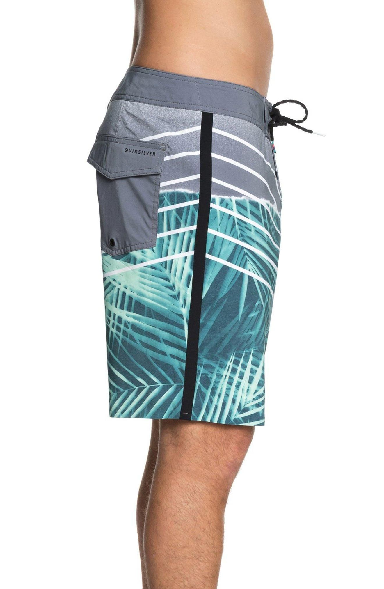 Highline Palm Board Shorts,                             Alternate thumbnail 3, color,                             Tropic Green