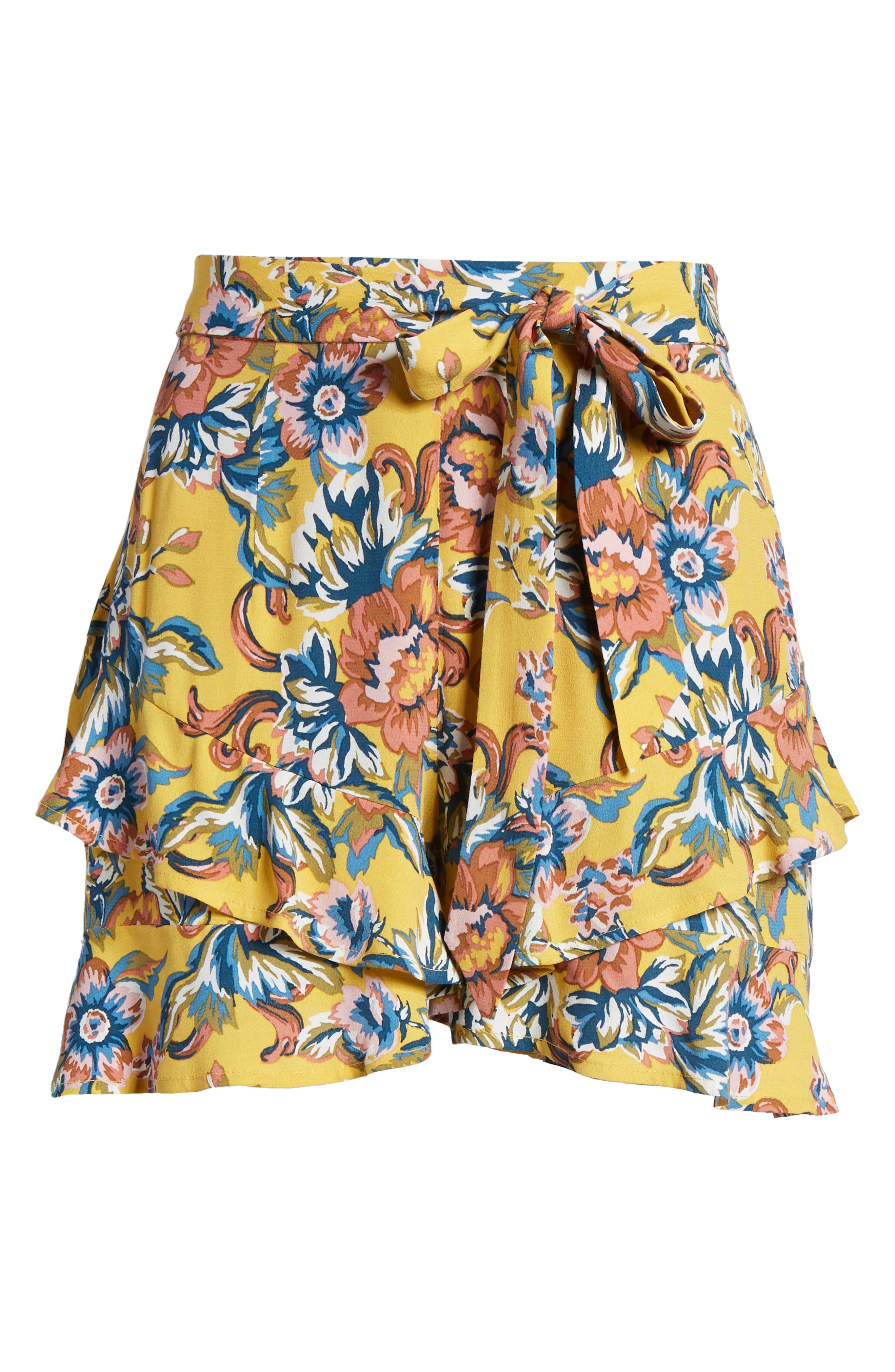 Print Ruffle Shorts,                             Alternate thumbnail 7, color,                             Yellow Ochre Tapestry Floral