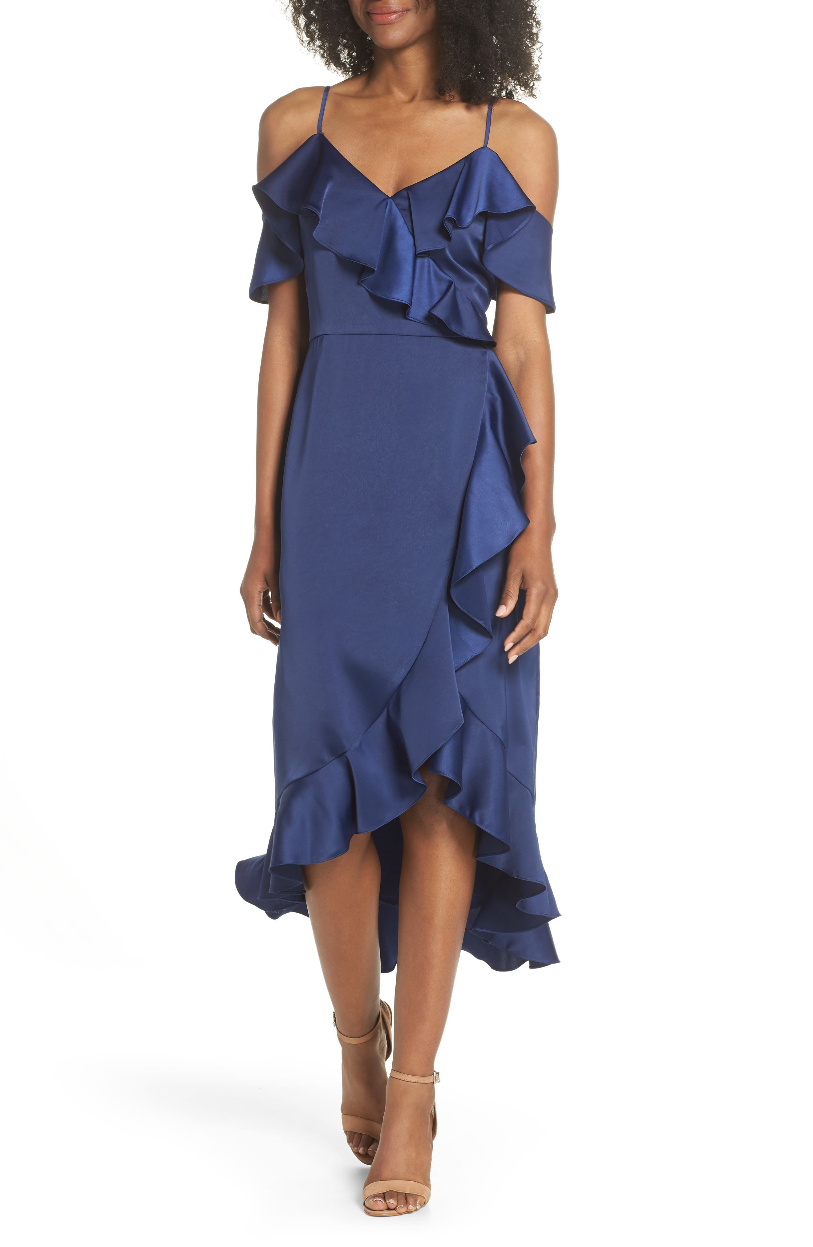 Faux Wrap Satin Ruffle Dress,                             Main thumbnail 1, color,                             Navy