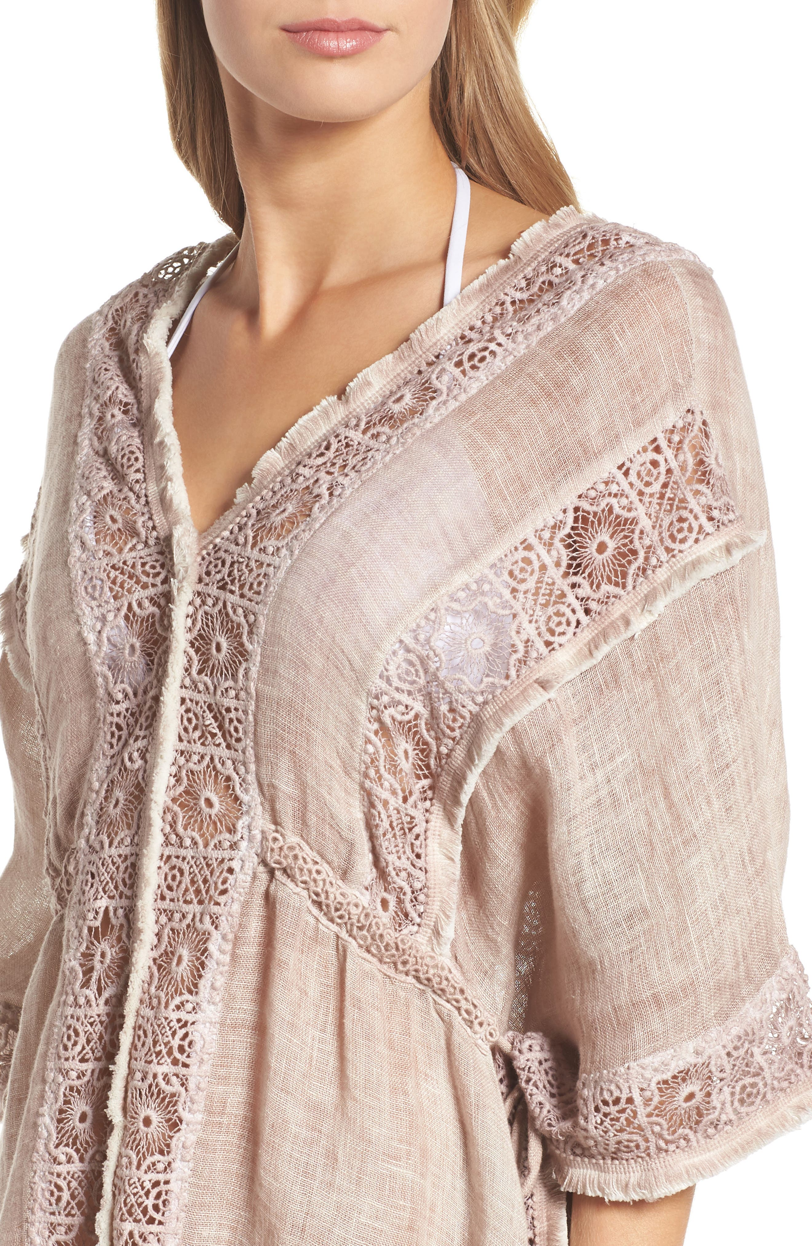 Zendaya Linen Cover-Up Tunic,                             Alternate thumbnail 5, color,                             Dusty Pink