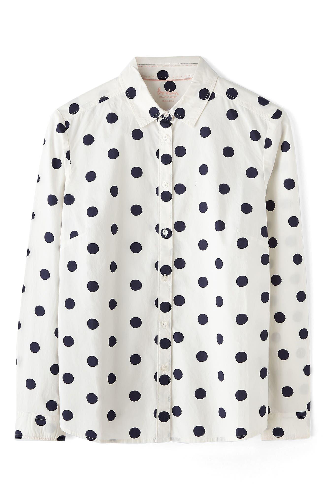 Print Shirt,                             Alternate thumbnail 4, color,                             Ivory/ Navy Spot