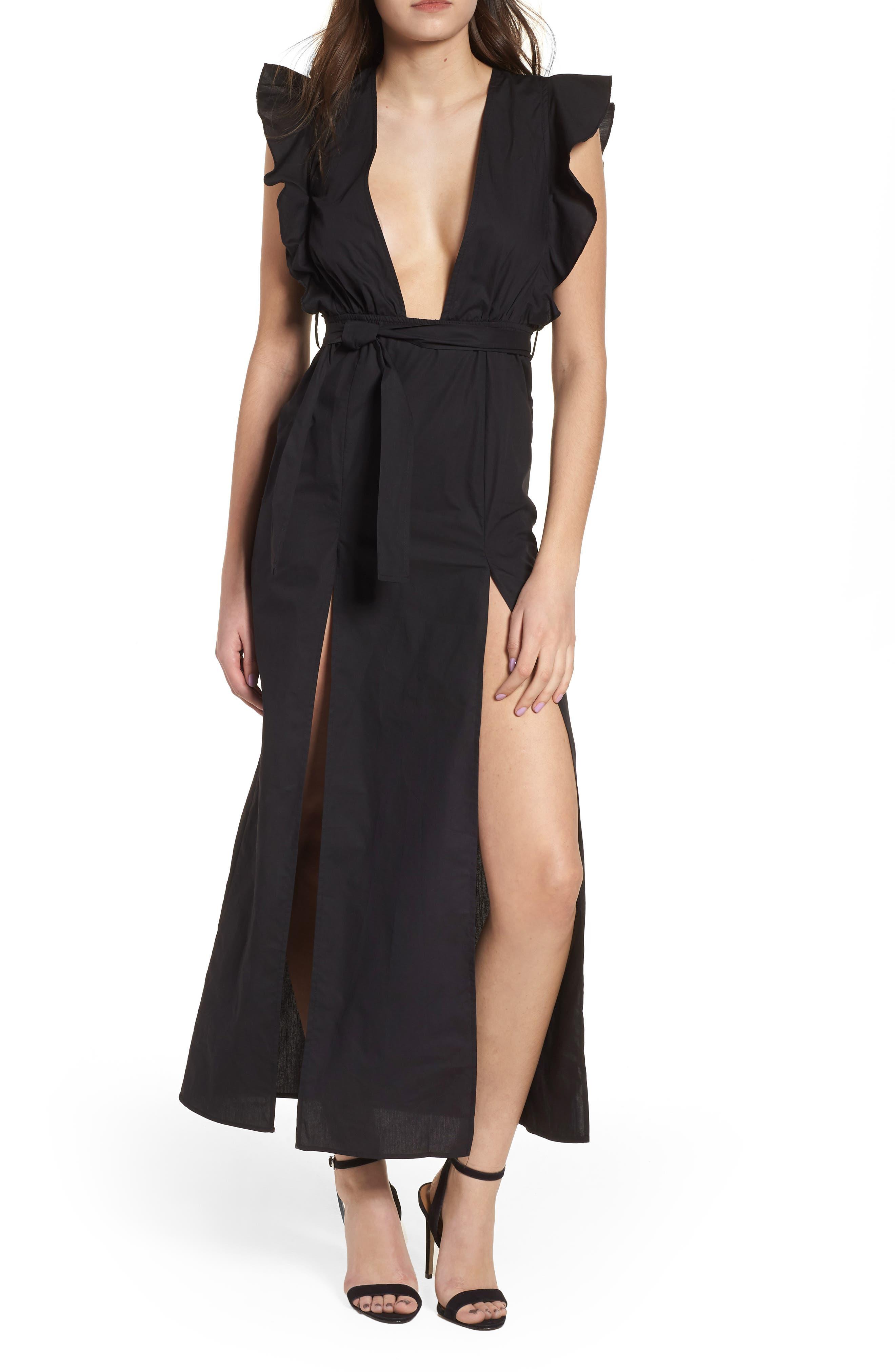Delilah Maxi Dress,                             Main thumbnail 1, color,                             Black