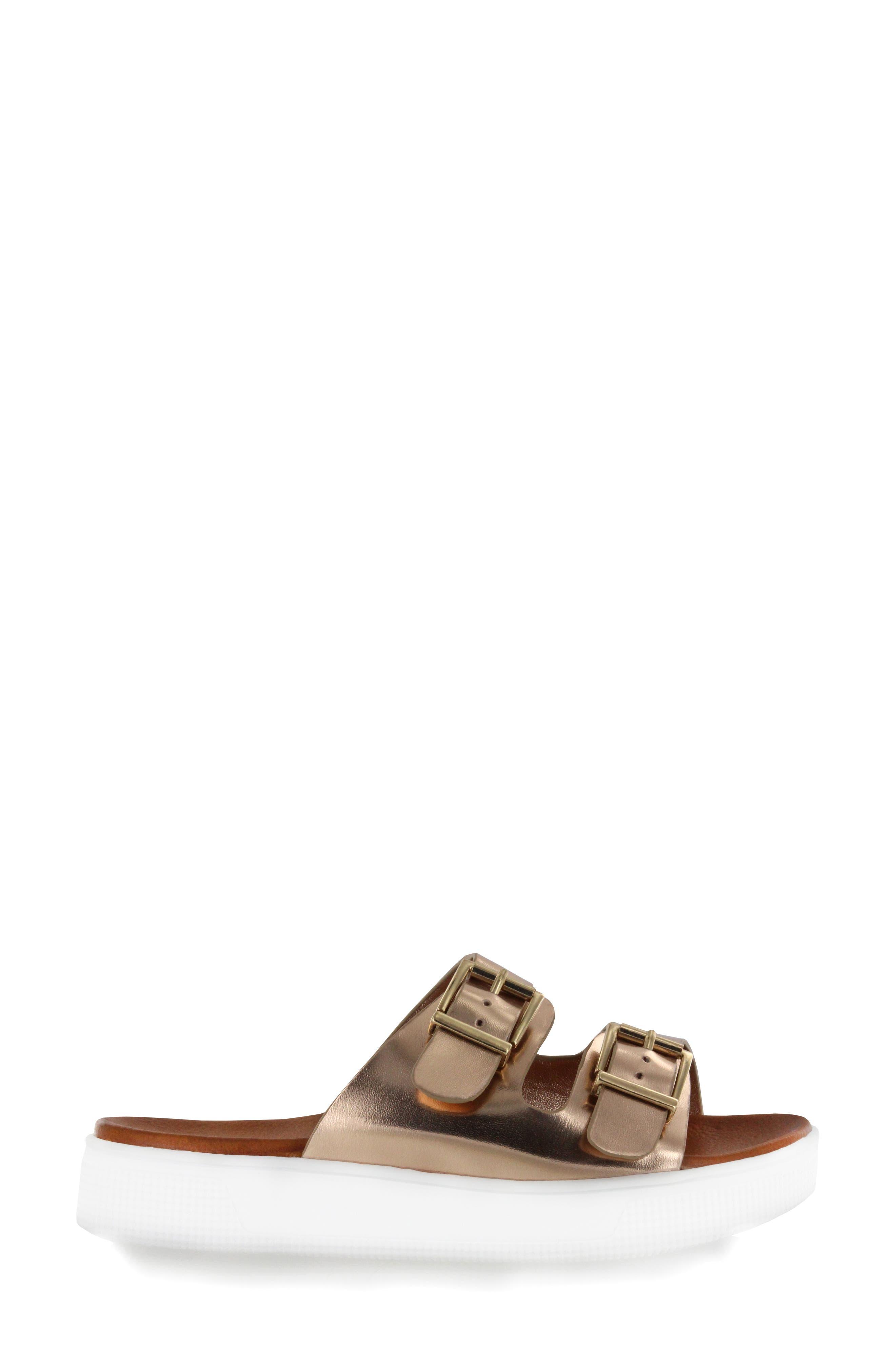 Venessa Platform Slide Sandal,                             Alternate thumbnail 3, color,                             Rose Gold Faux Leather