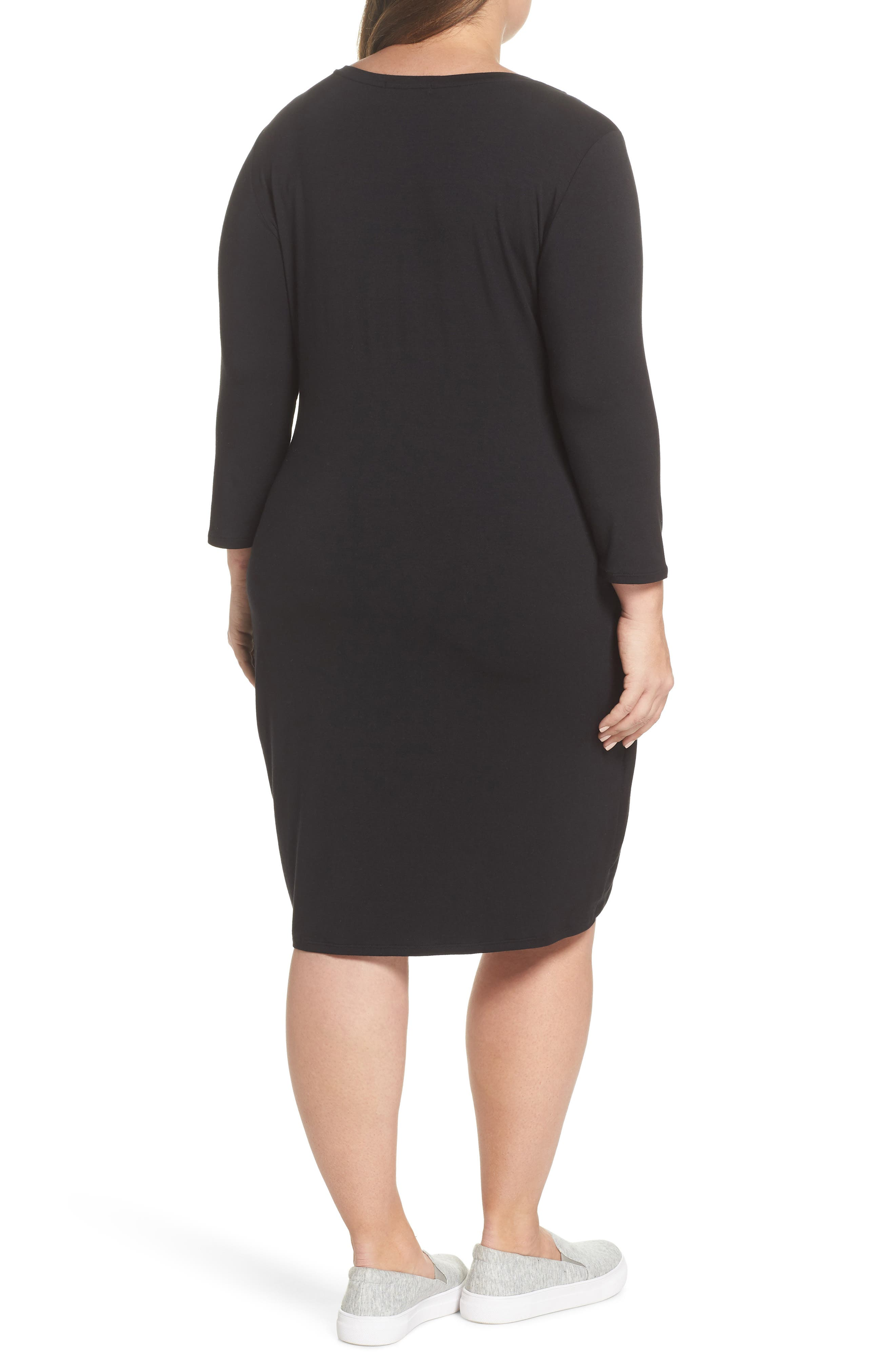 x Living in Yellow Hannah Ruched Faux Wrap Dress,                             Alternate thumbnail 3, color,                             Black