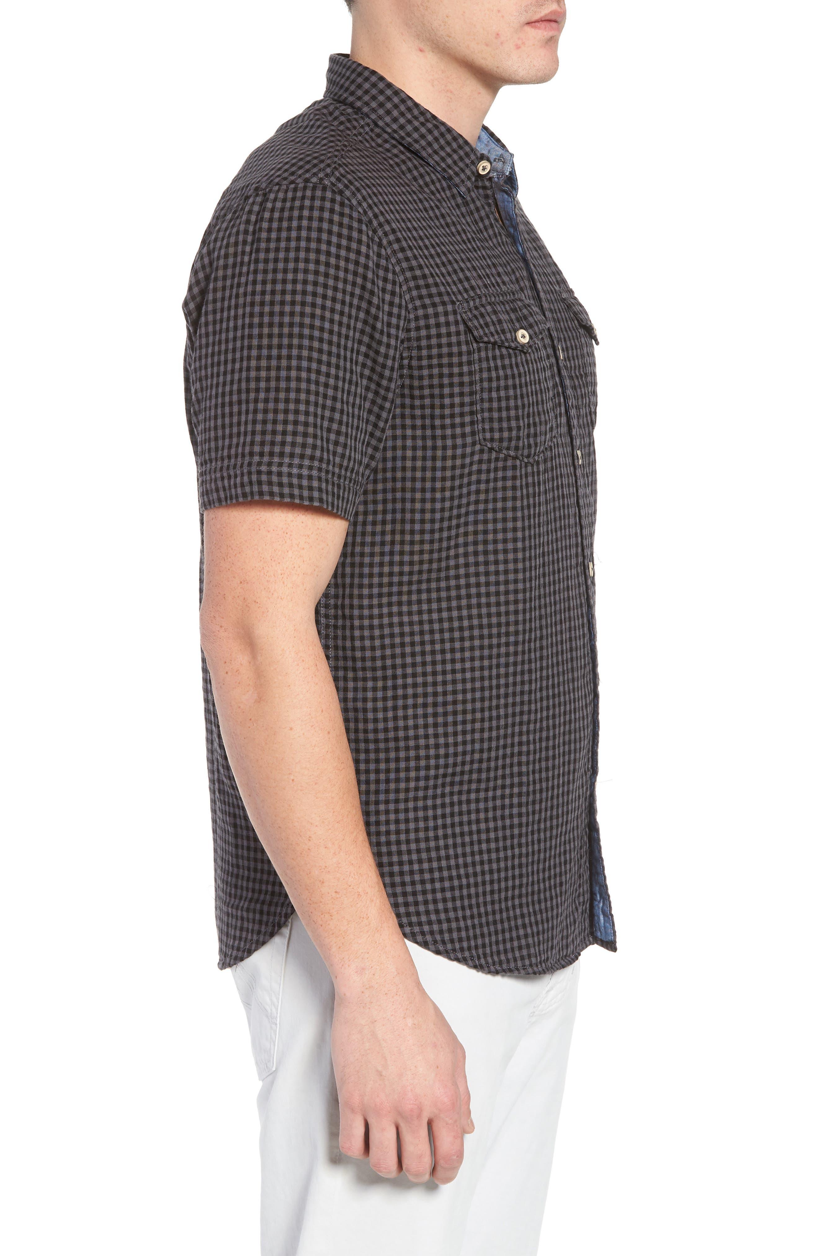 Soho Gingham Sport Shirt,                             Alternate thumbnail 4, color,                             Black Charcoal