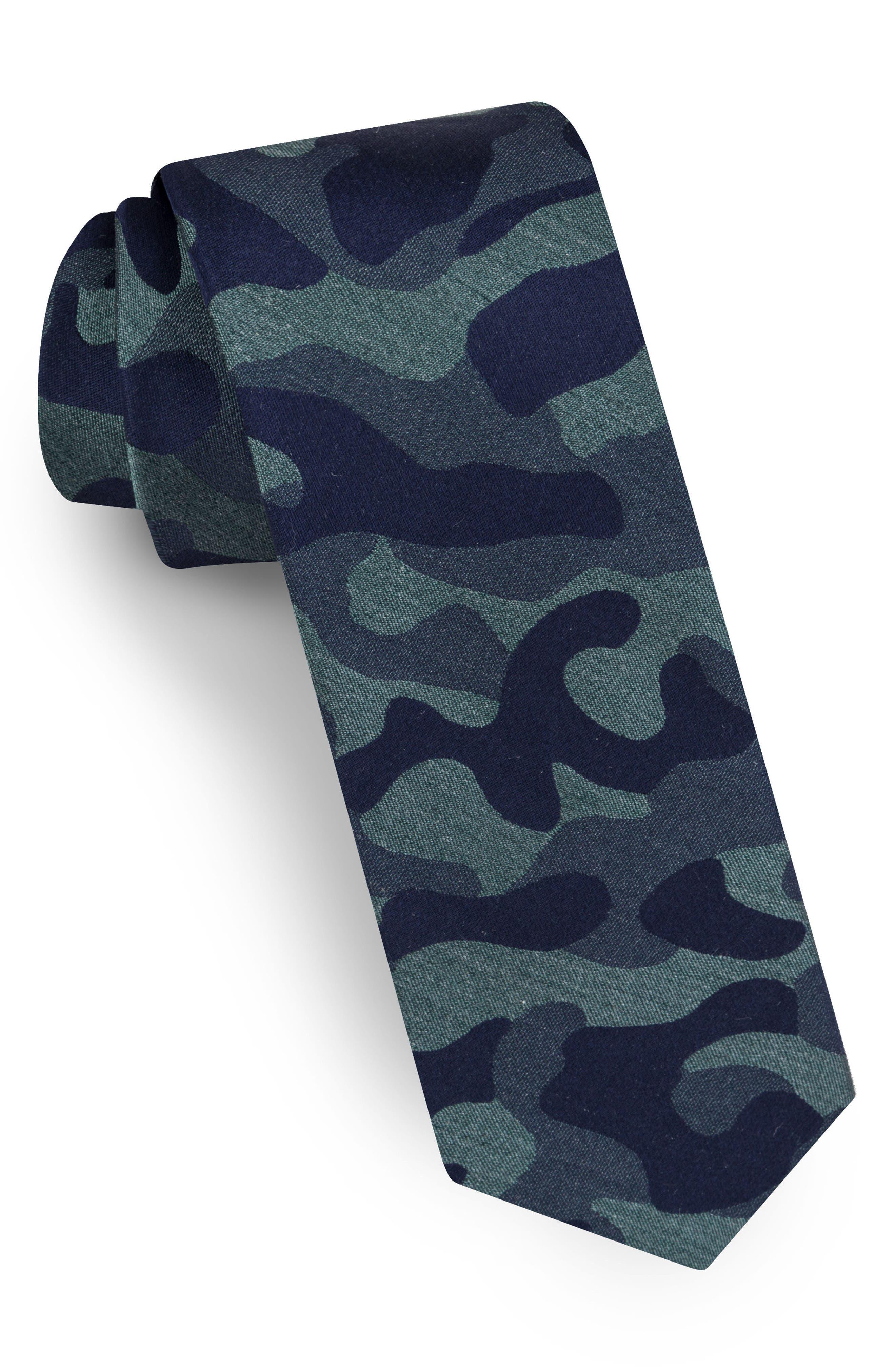 Camo Silk Tie,                         Main,                         color, Green
