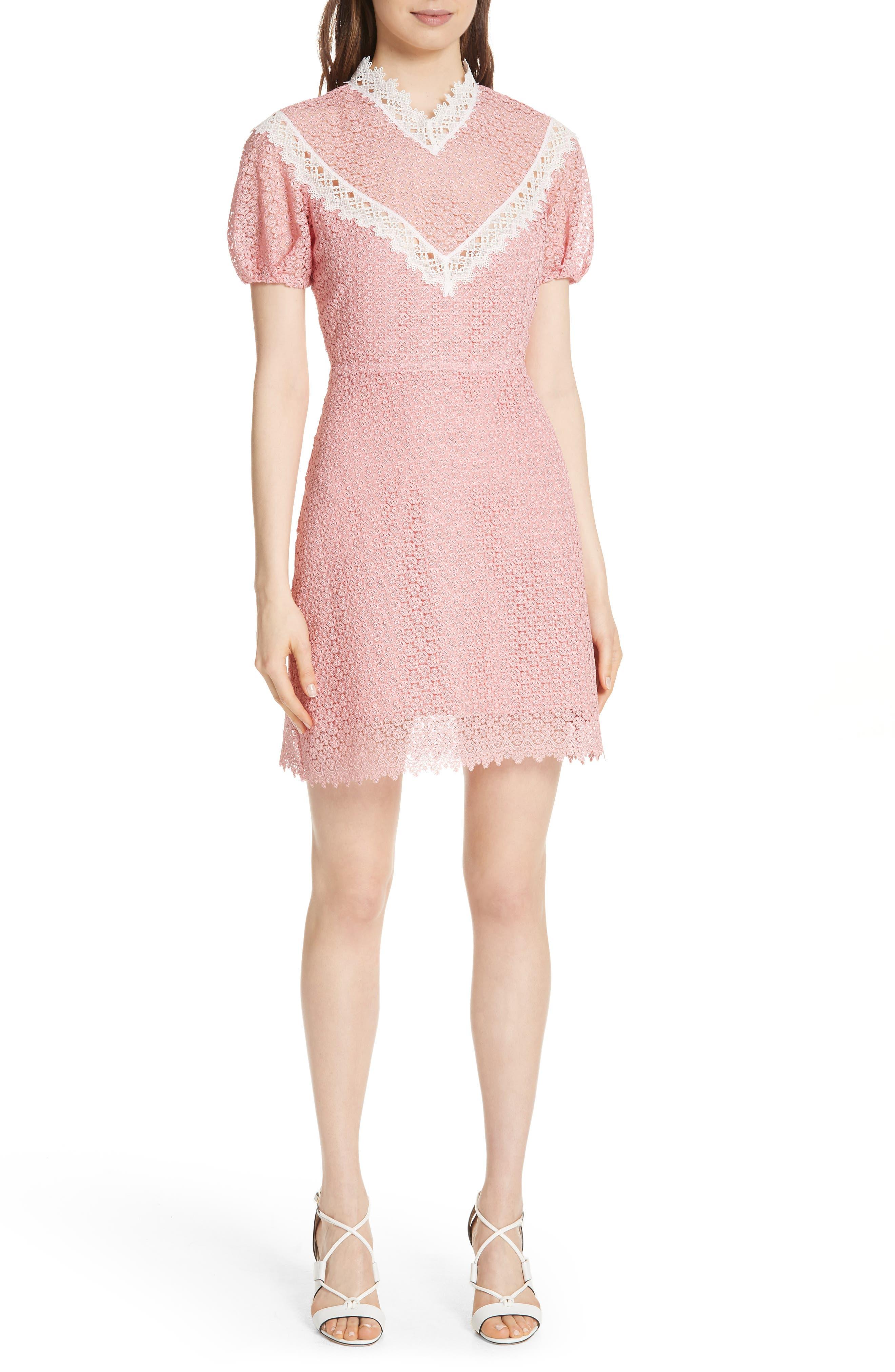 Lace Dress,                             Main thumbnail 1, color,                             Peony
