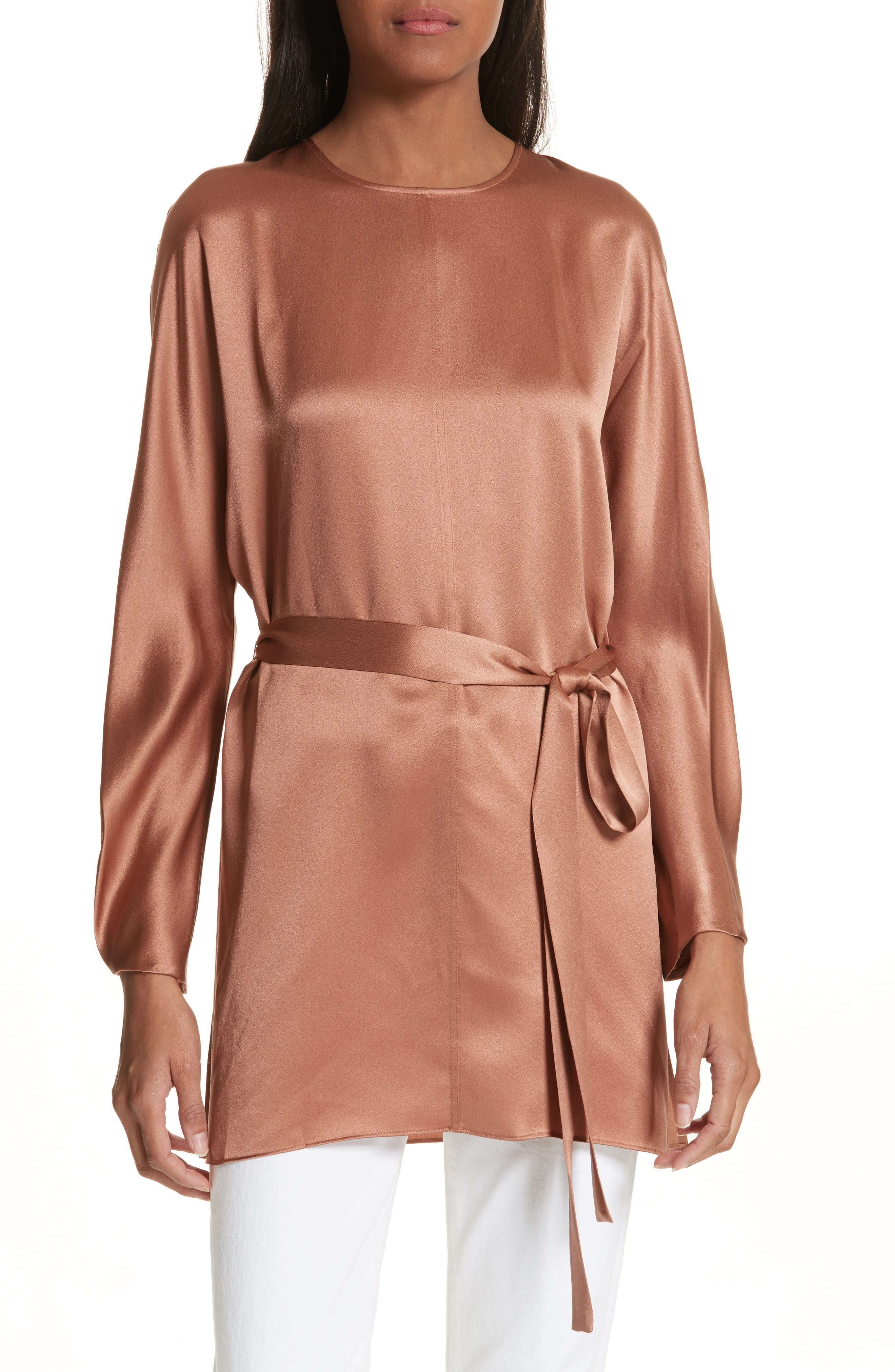 Seam Front Silk Dress,                             Main thumbnail 1, color,                             Terracotta