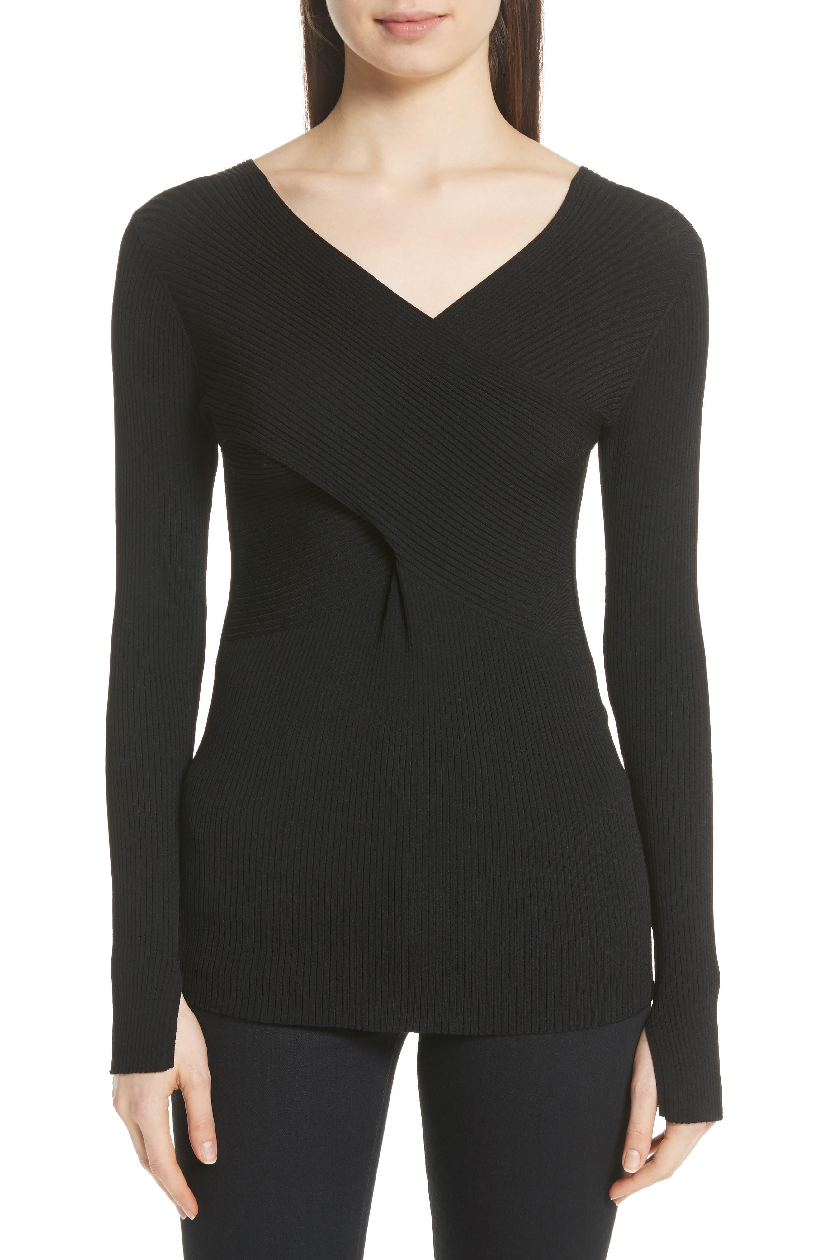 Athena Faux Wrap Sweater,                             Main thumbnail 1, color,                             Black Onyx