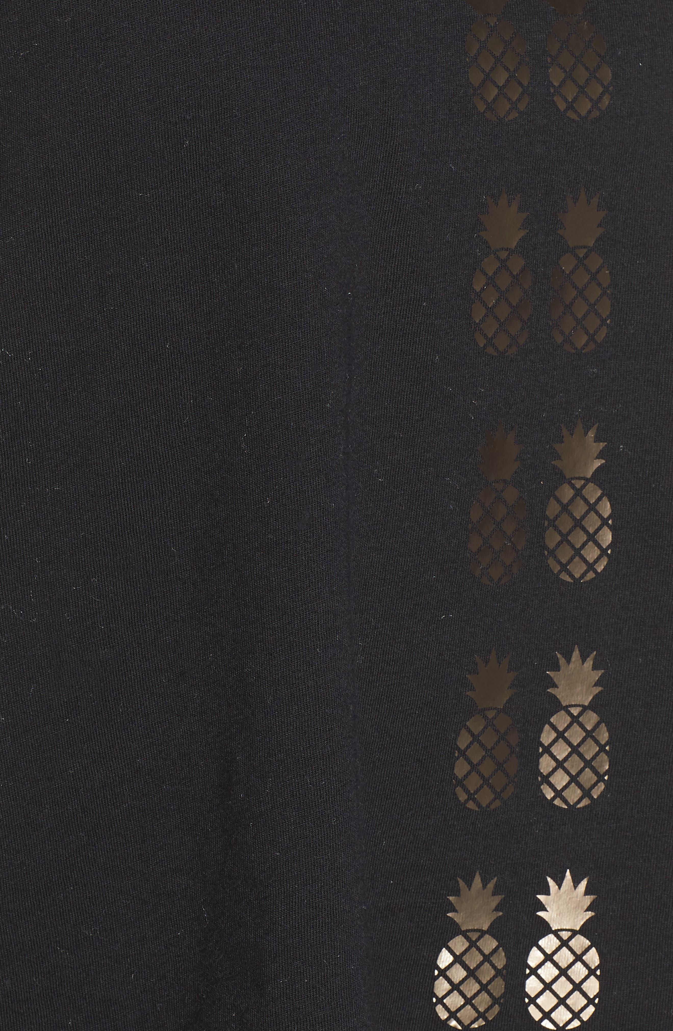 Flash Pineapple Racerback Tank,                             Alternate thumbnail 6, color,                             Nero/ Iridescent Gold