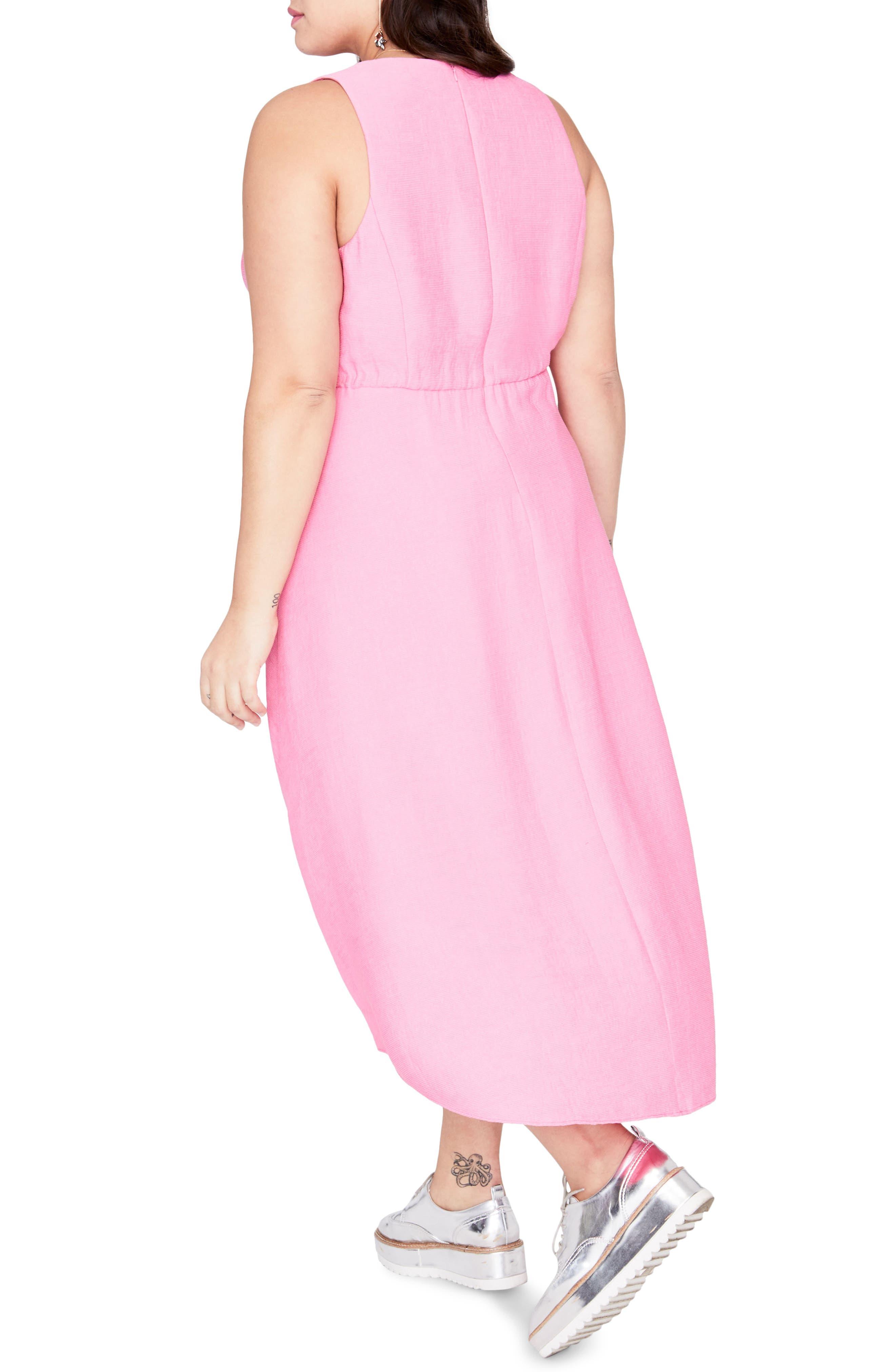 Flutter Drape Dress,                             Alternate thumbnail 2, color,                             Cosmic Pink