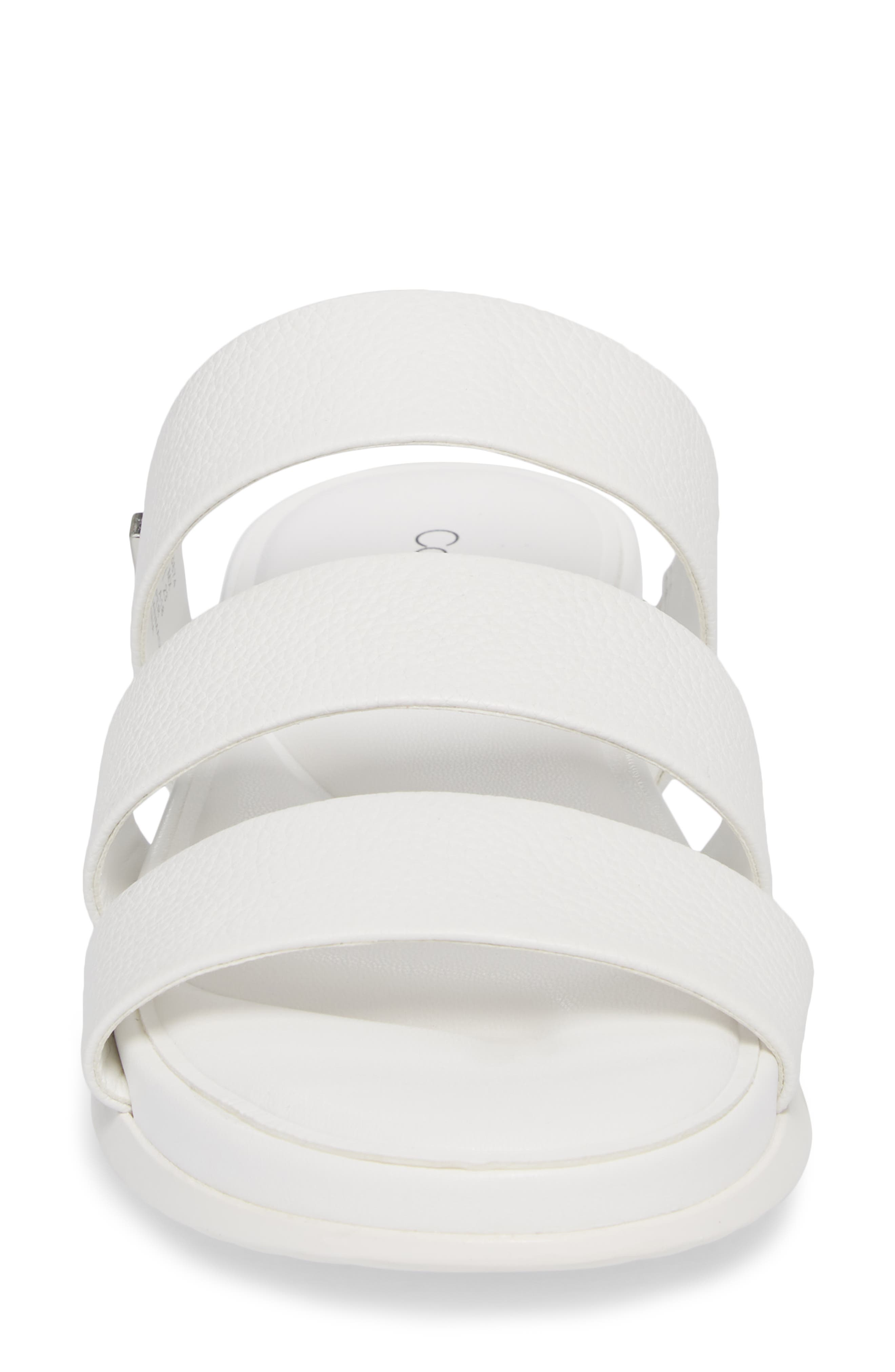 Dalana Slide Sandal,                             Alternate thumbnail 4, color,                             Platinum White Pebble Leather